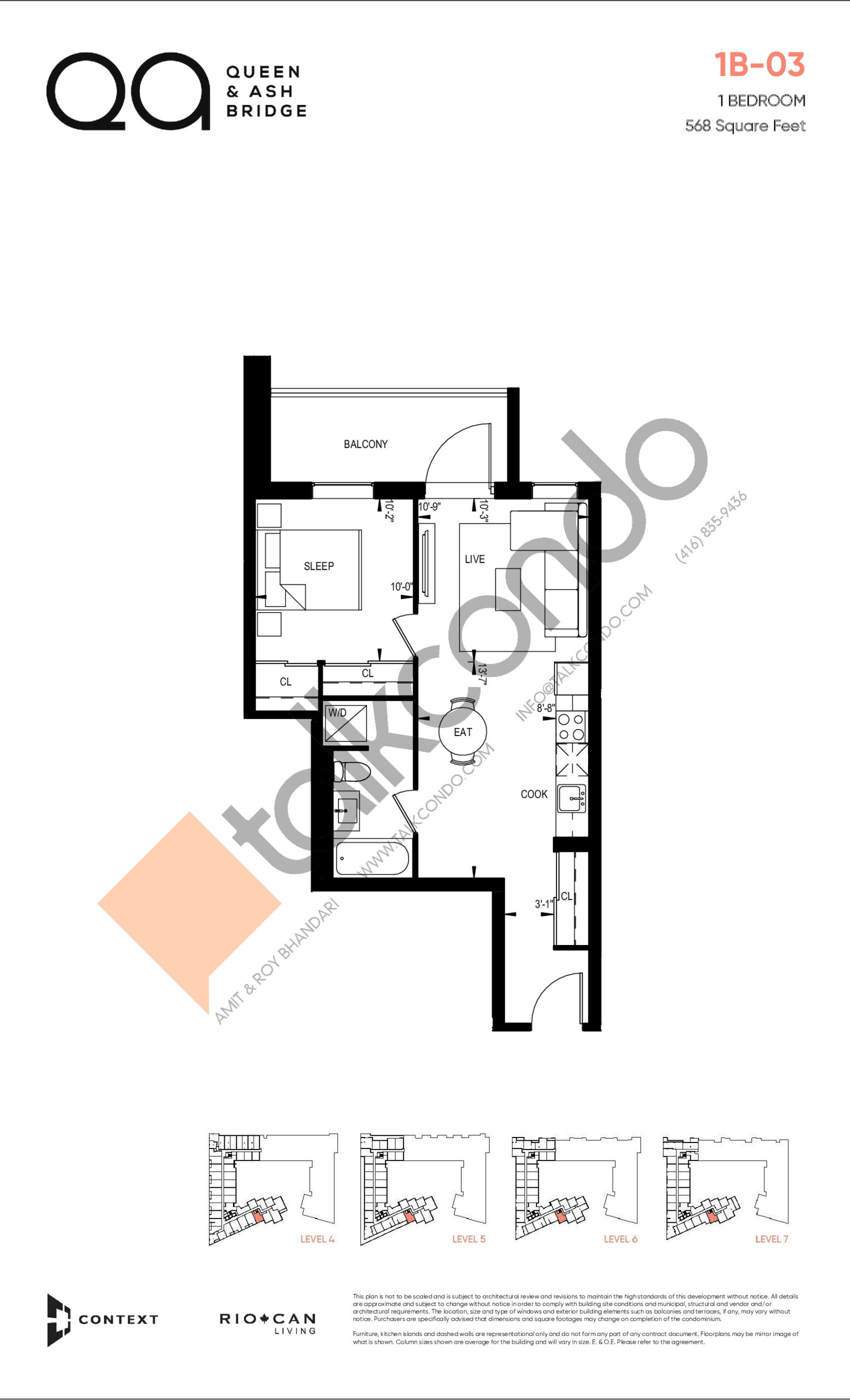1B-03 (Queen Collection) Floor Plan at QA Condos - 568 sq.ft