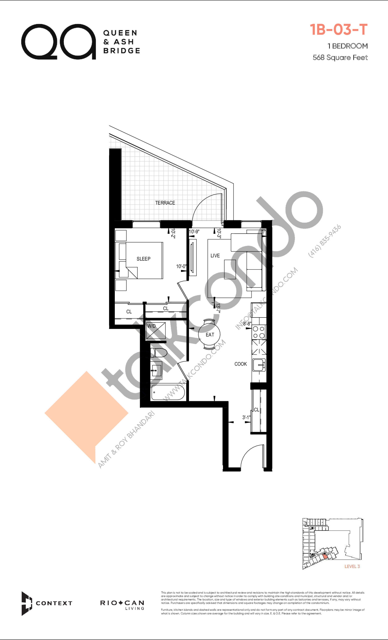 1B-03-T (Queen Collection) Floor Plan at QA Condos - 568 sq.ft