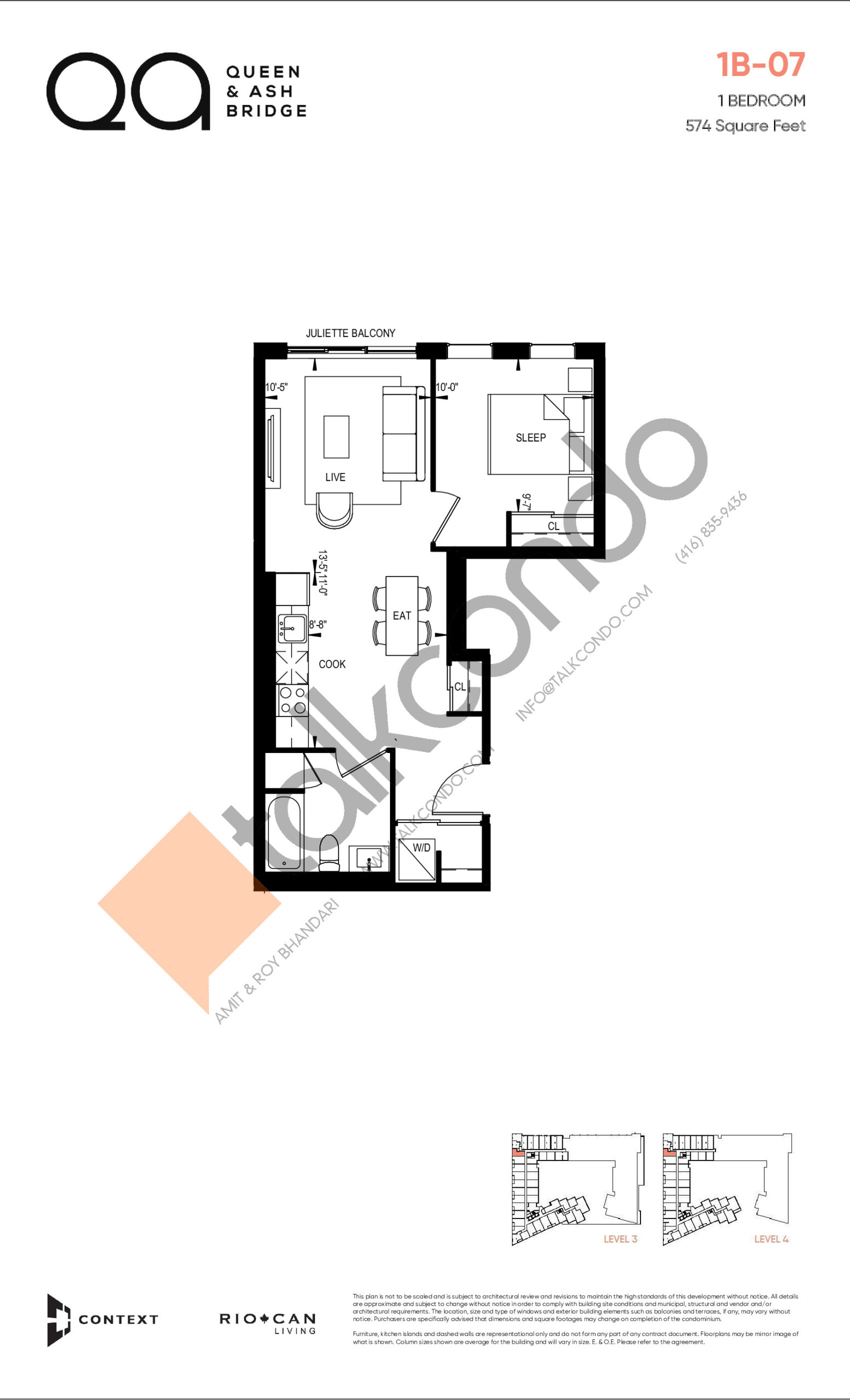 1B-07 (Queen Collection) Floor Plan at QA Condos - 574 sq.ft