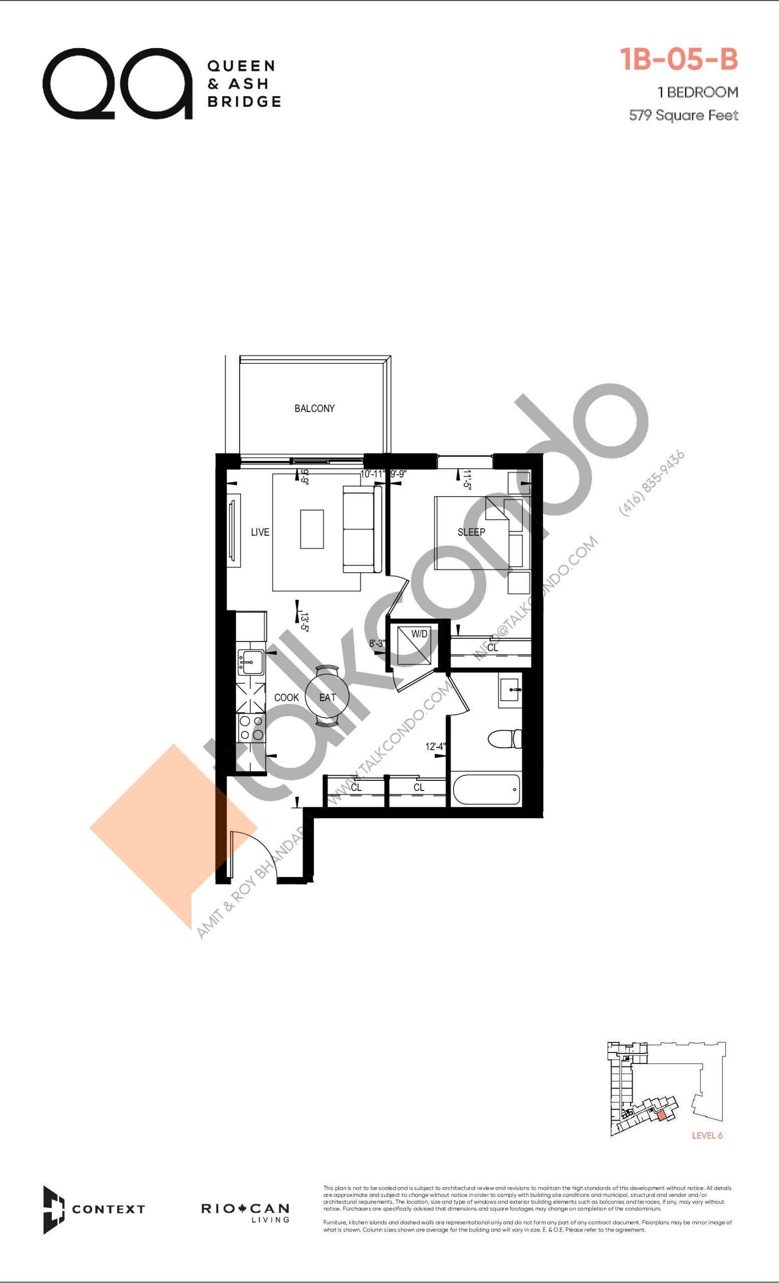 1B-05-B (Queen Collection) Floor Plan at QA Condos - 579 sq.ft