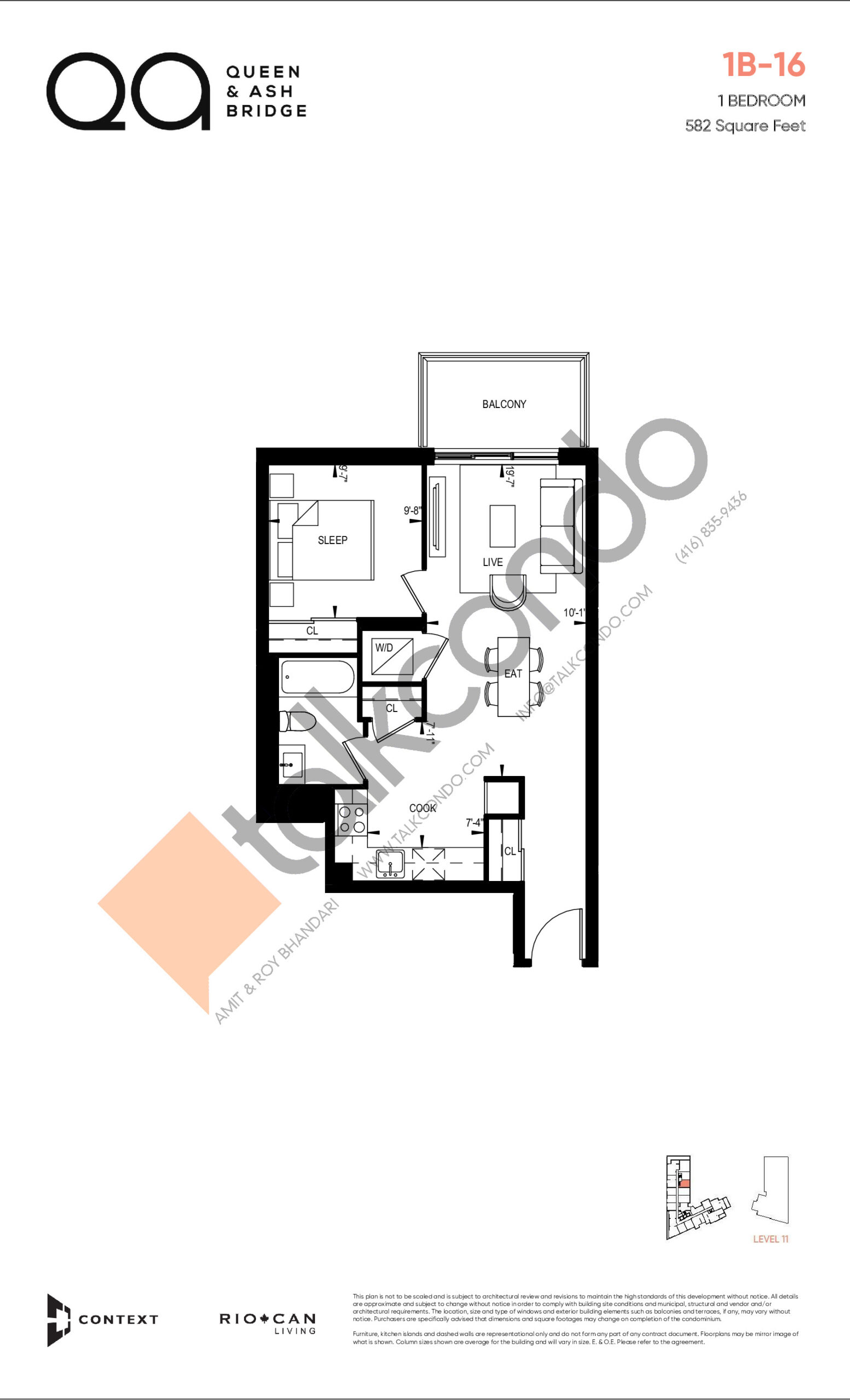 1B-16 (Queen Collection) Floor Plan at QA Condos - 582 sq.ft
