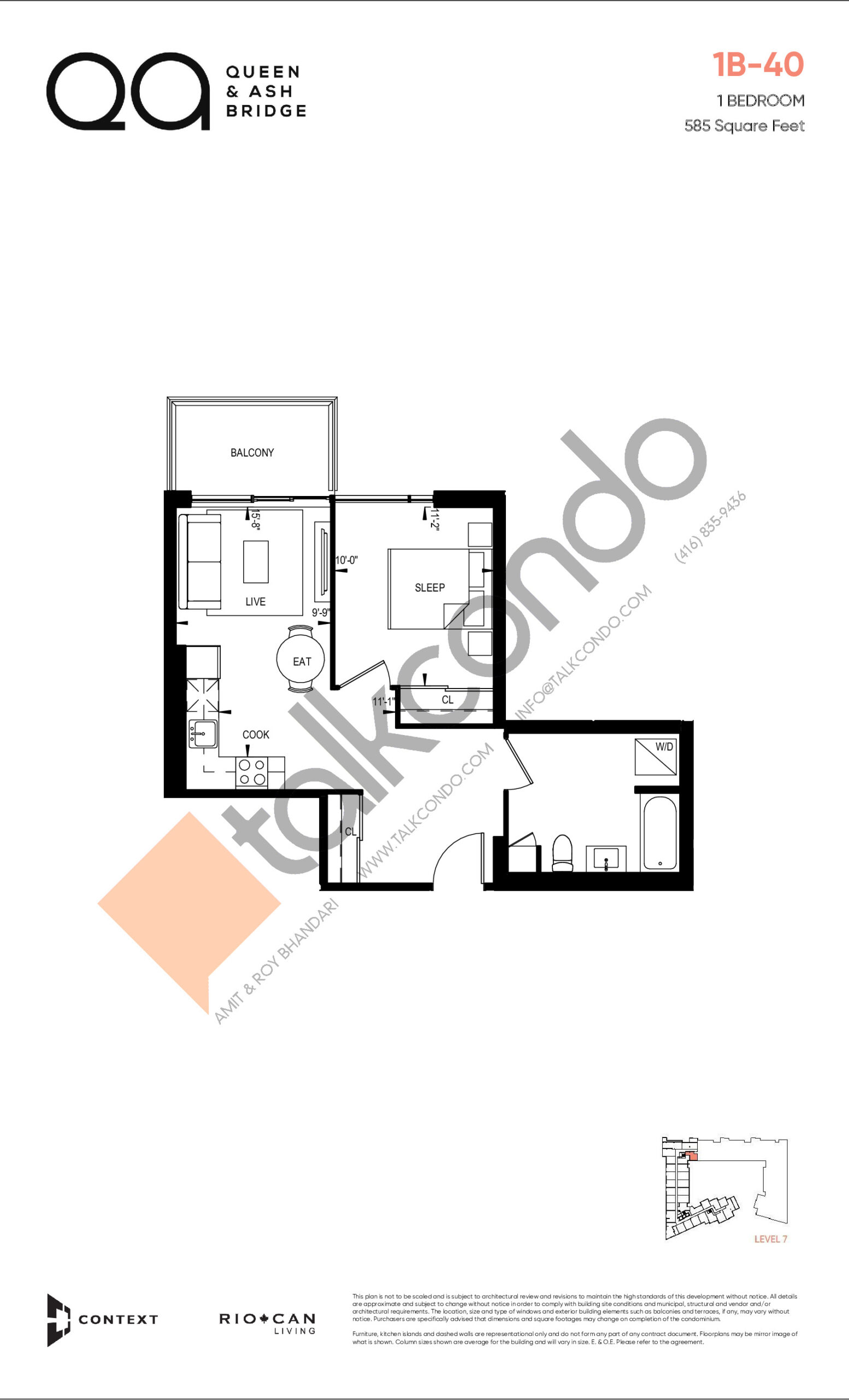 1B-40 (Queen Collection) Floor Plan at QA Condos - 585 sq.ft