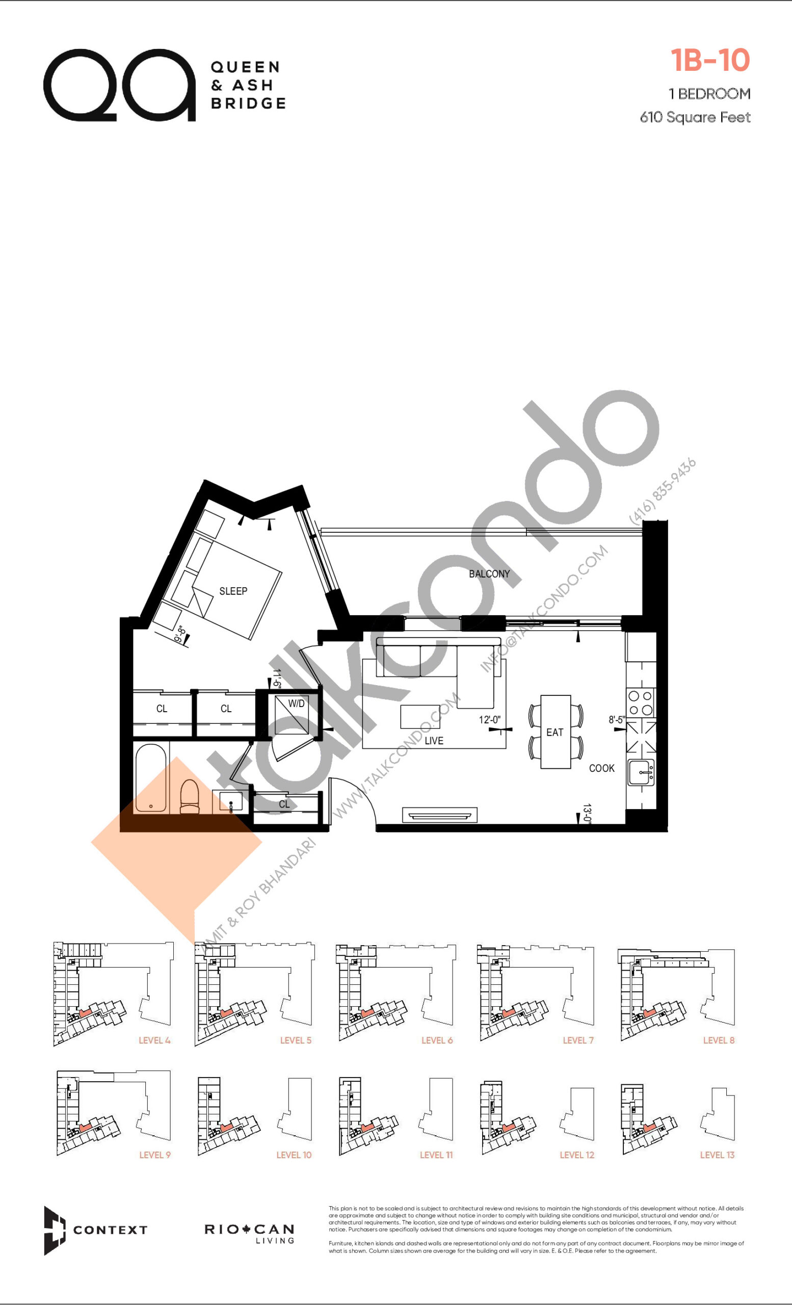 1B-10 (Queen Collection) Floor Plan at QA Condos - 610 sq.ft