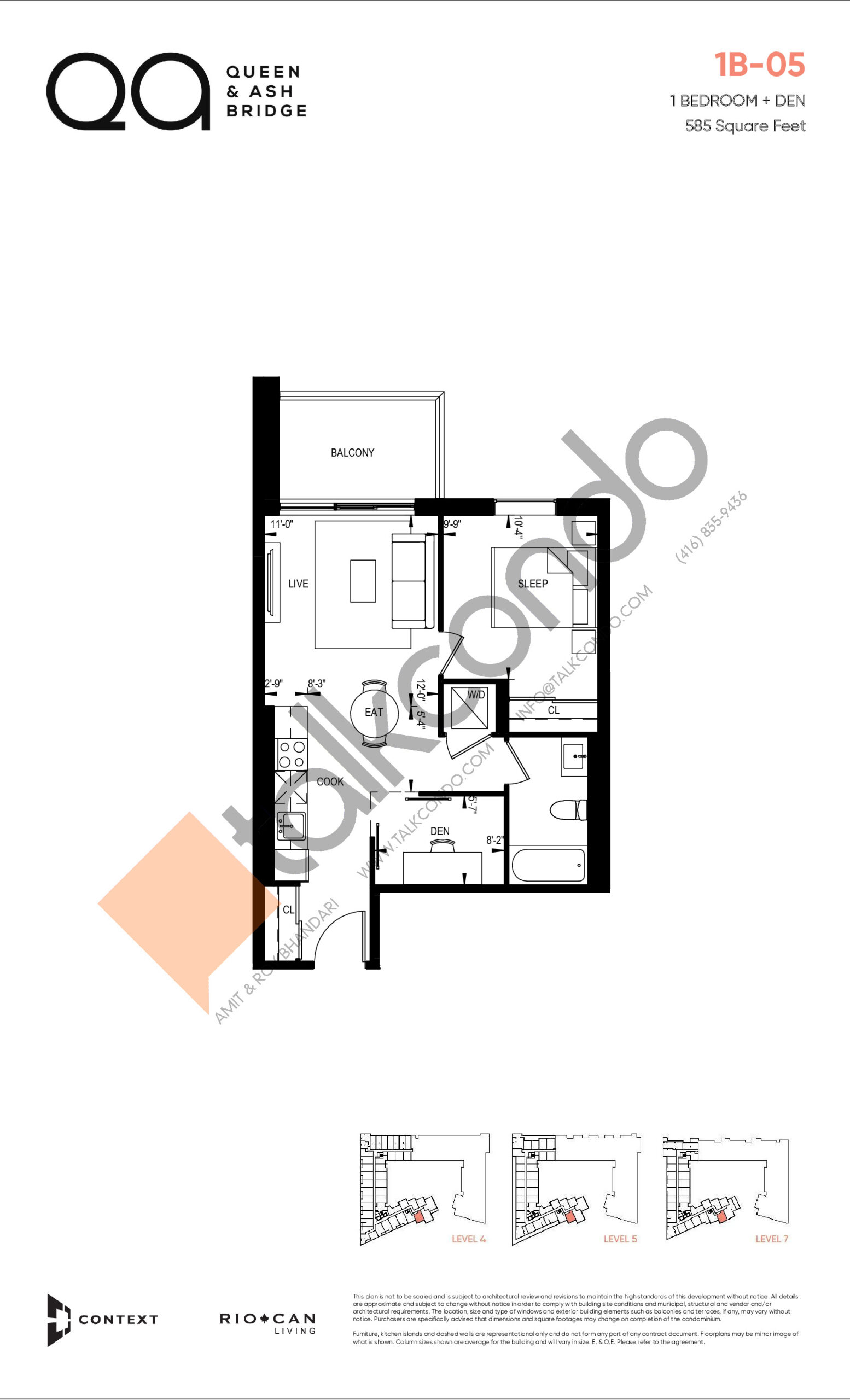 1B-05 (Queen Collection) Floor Plan at QA Condos - 585 sq.ft