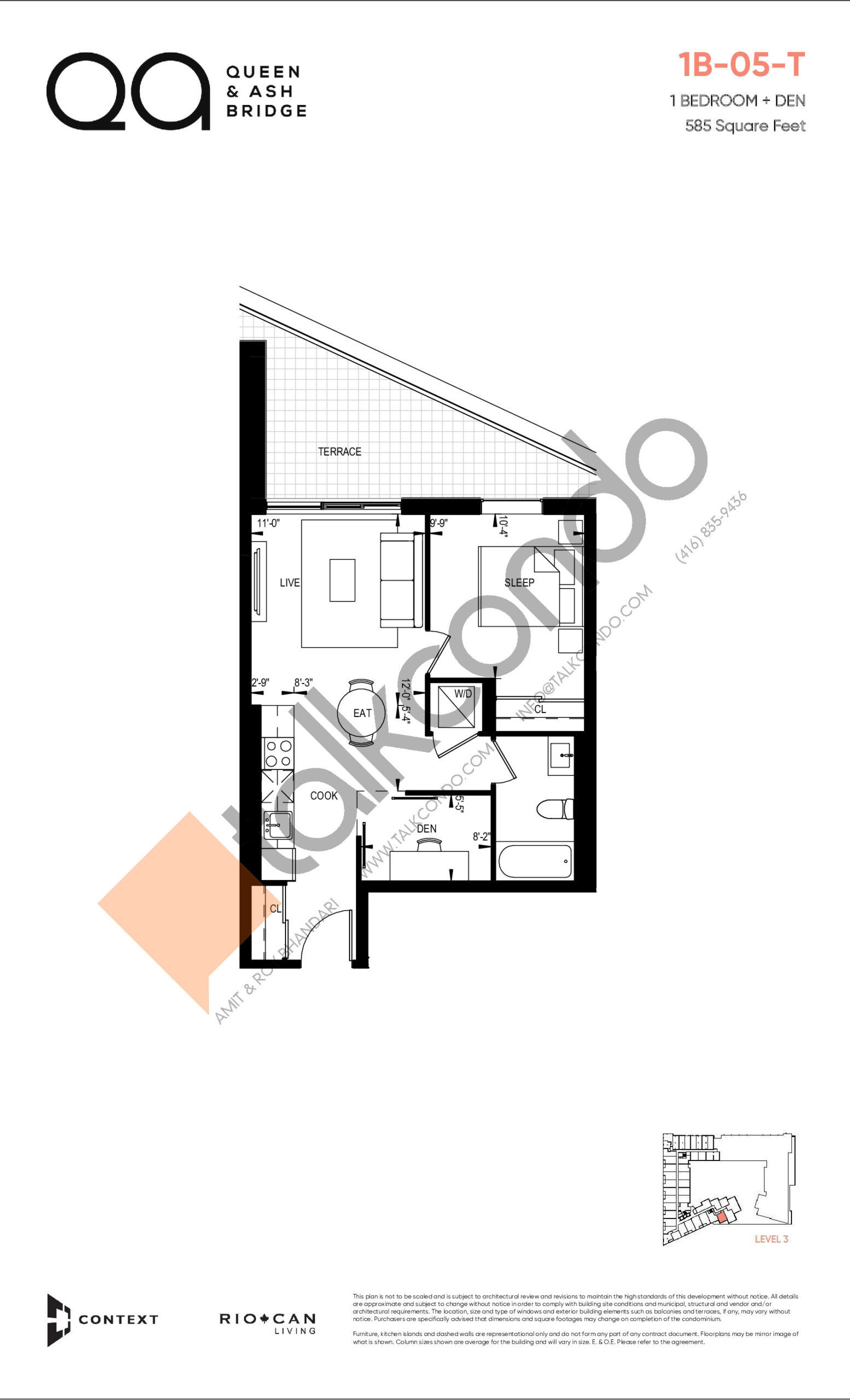 1B-05-T (Queen Collection) Floor Plan at QA Condos - 585 sq.ft