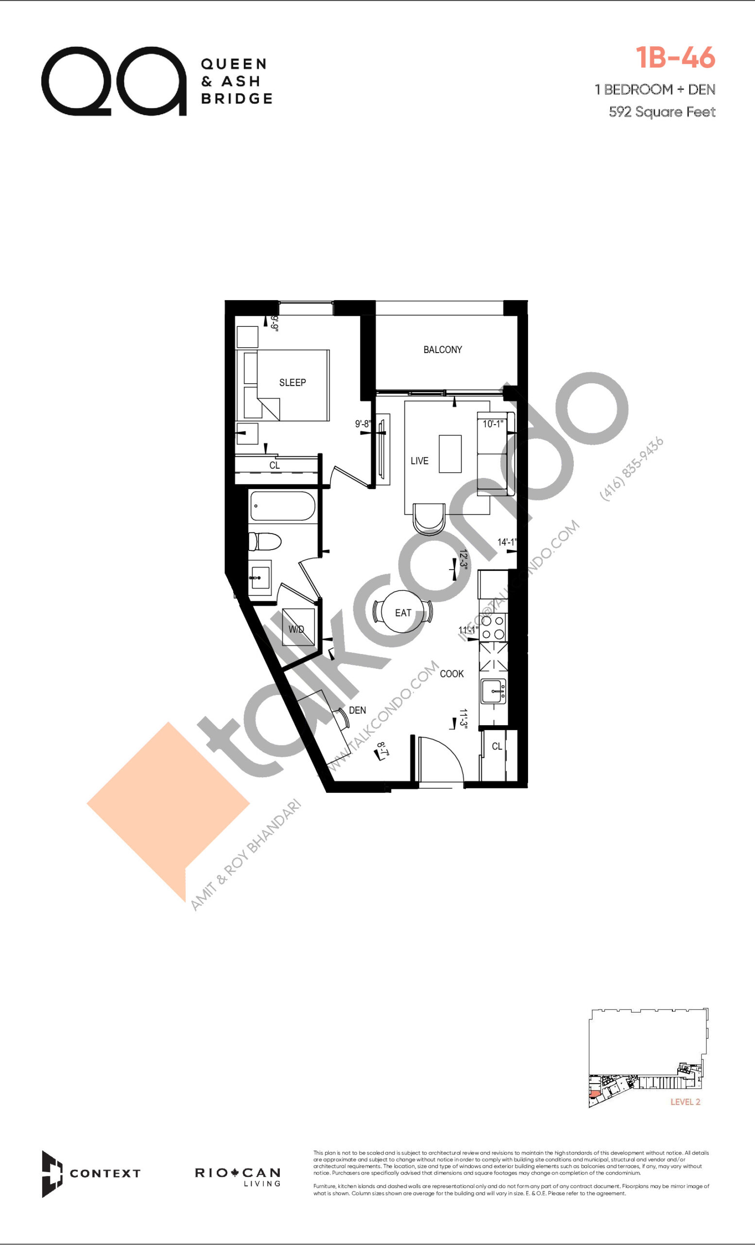 1B-46 (Queen Collection) Floor Plan at QA Condos - 592 sq.ft