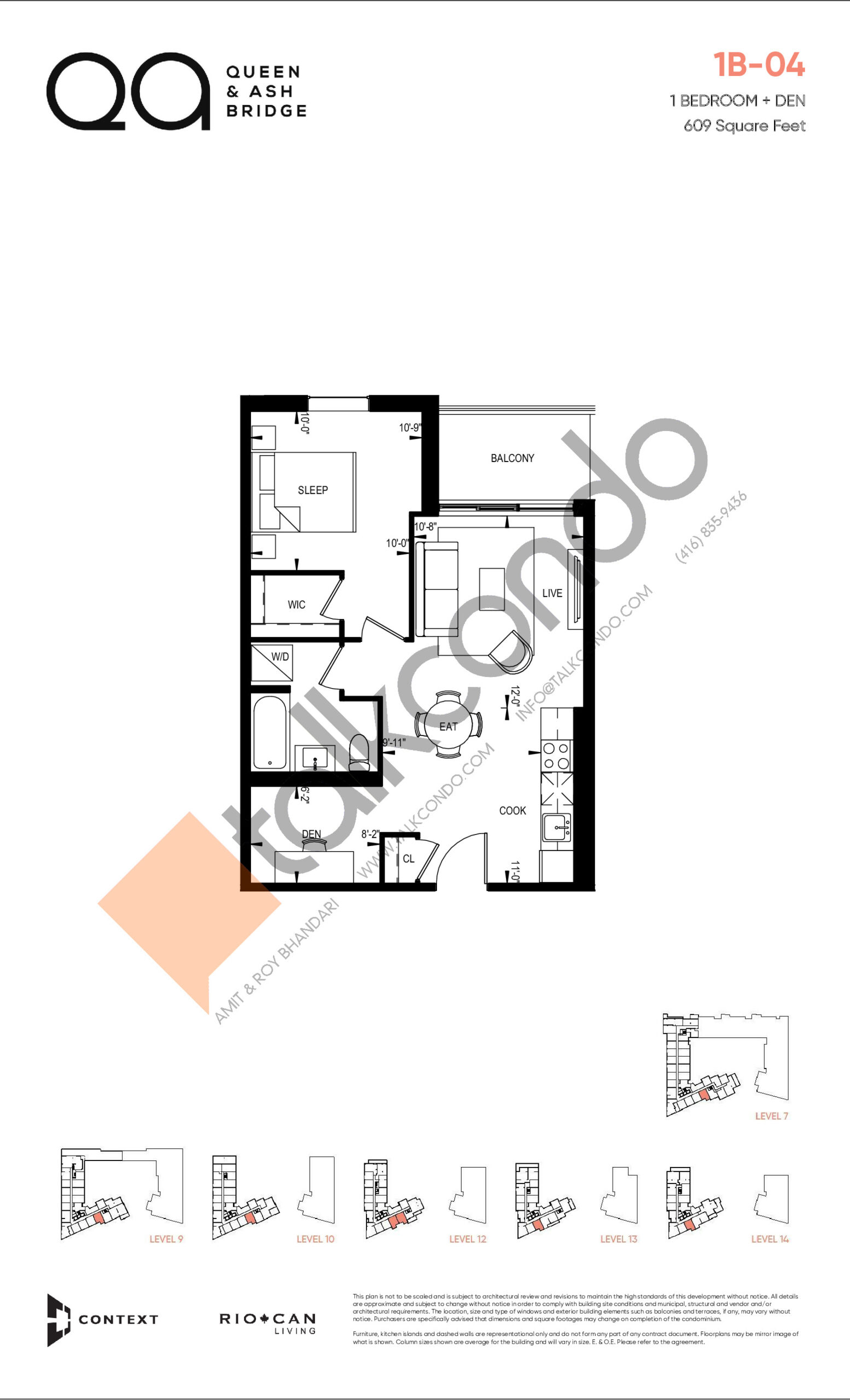 1B-04 (Queen Collection) Floor Plan at QA Condos - 609 sq.ft