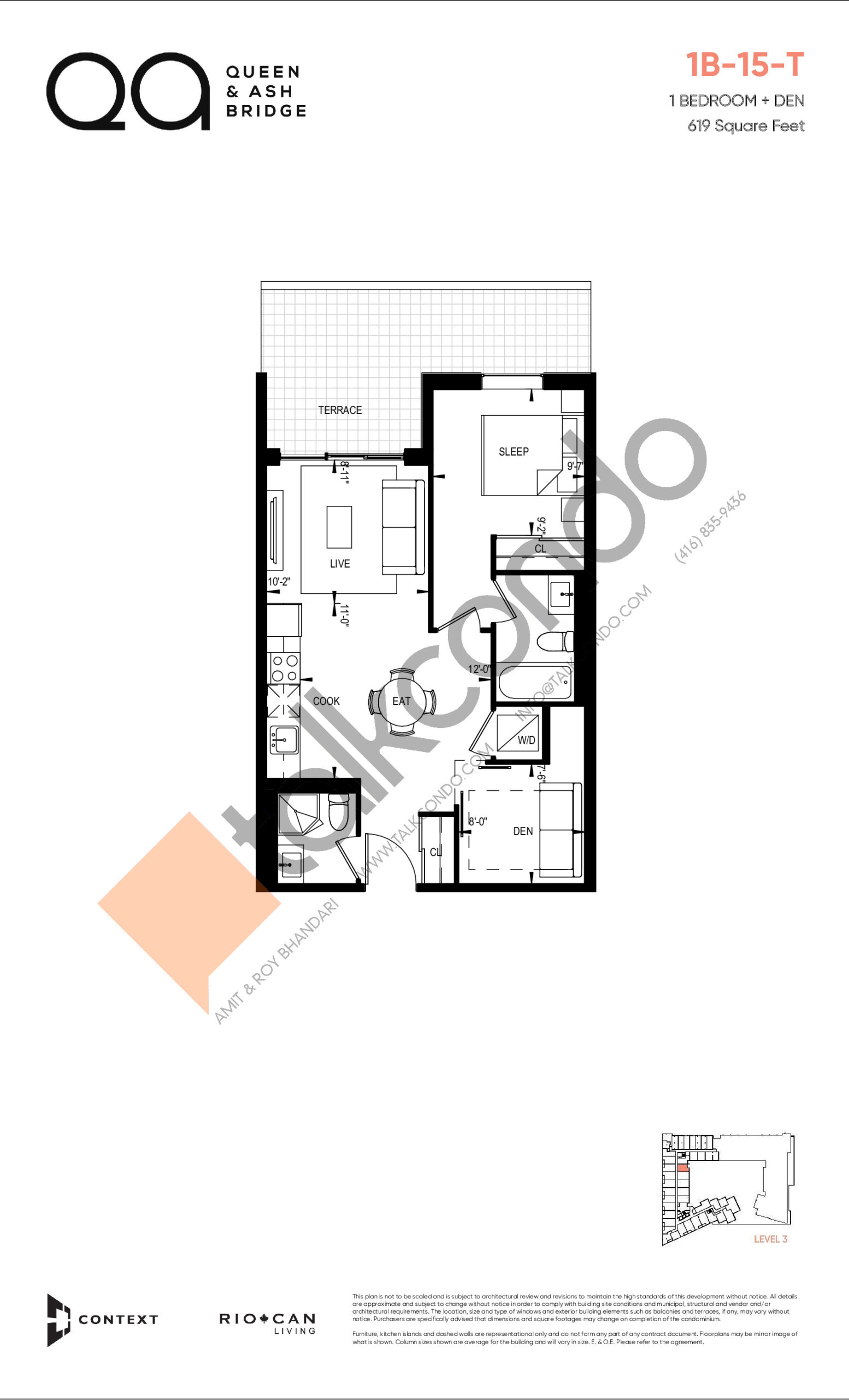 1B-15-T (Queen Collection) Floor Plan at QA Condos - 619 sq.ft