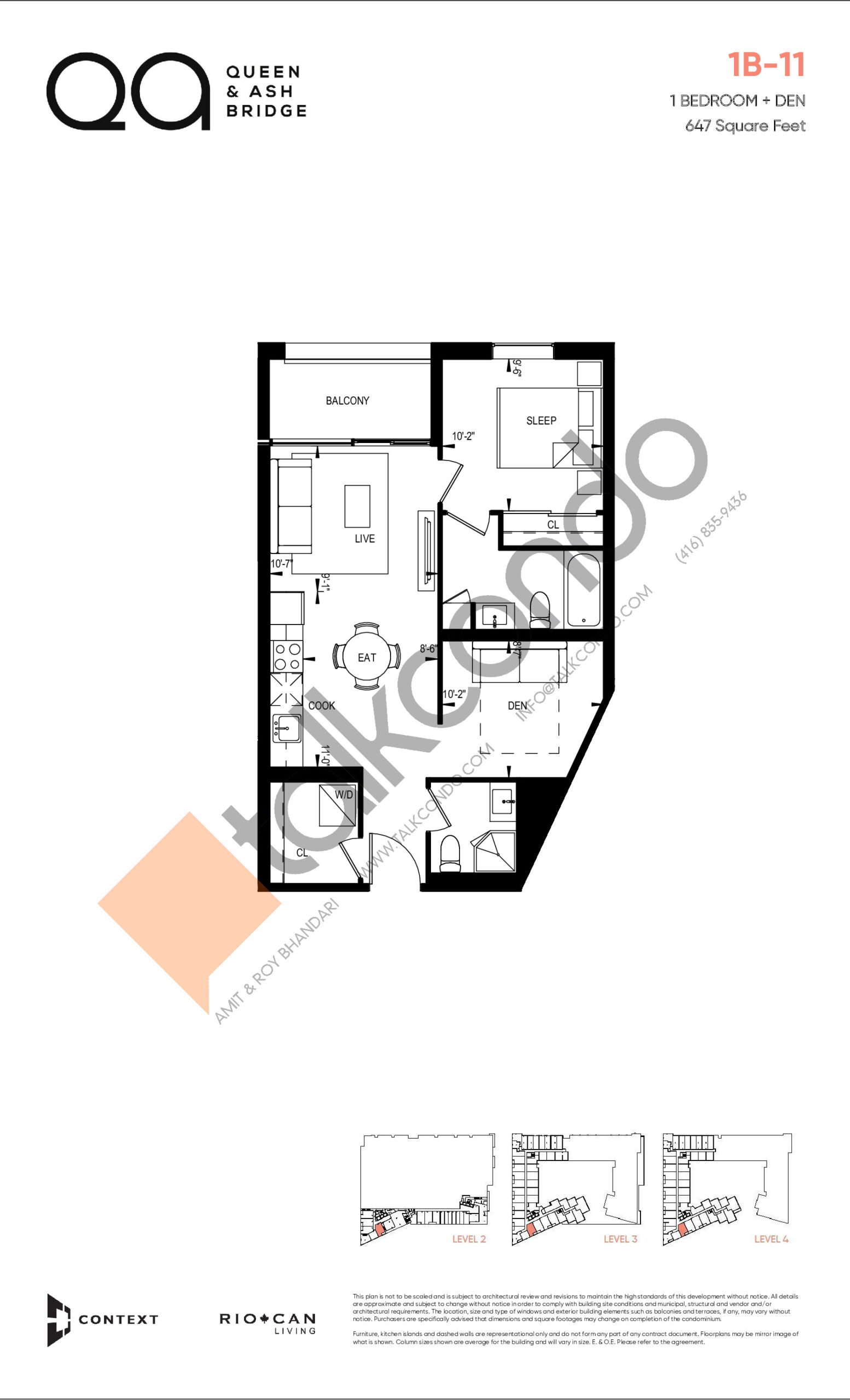 1B-11 (Queen Collection) Floor Plan at QA Condos - 647 sq.ft