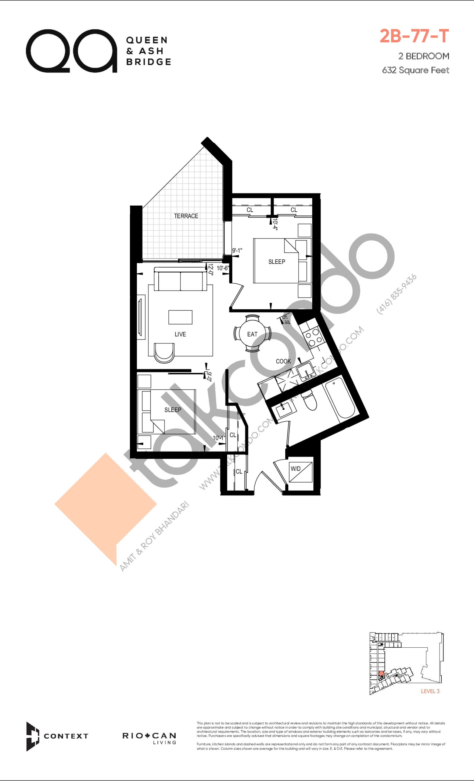 2B-77-T (Queen Collection) Floor Plan at QA Condos - 632 sq.ft