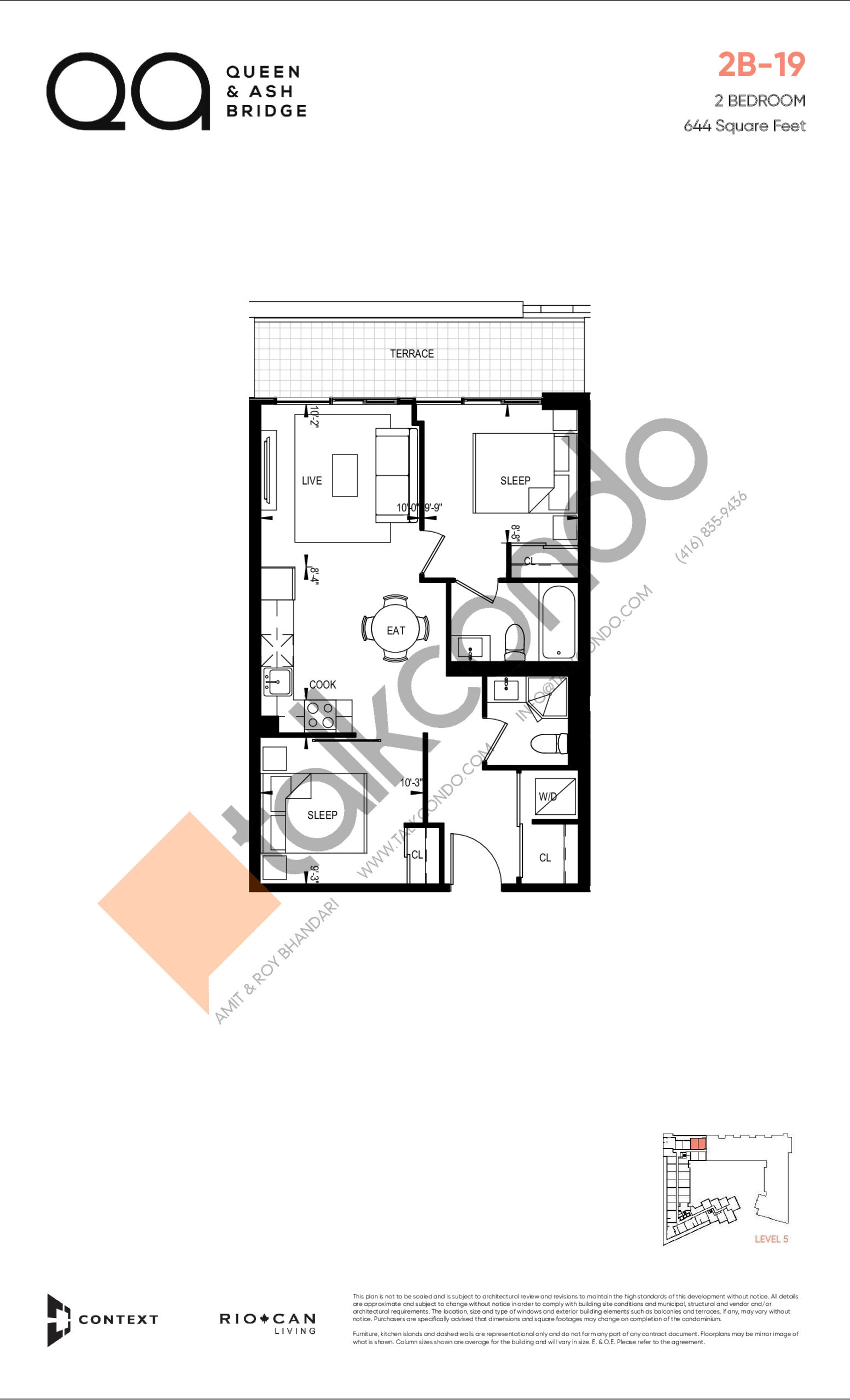 2B-19 (Queen Collection) Floor Plan at QA Condos - 644 sq.ft