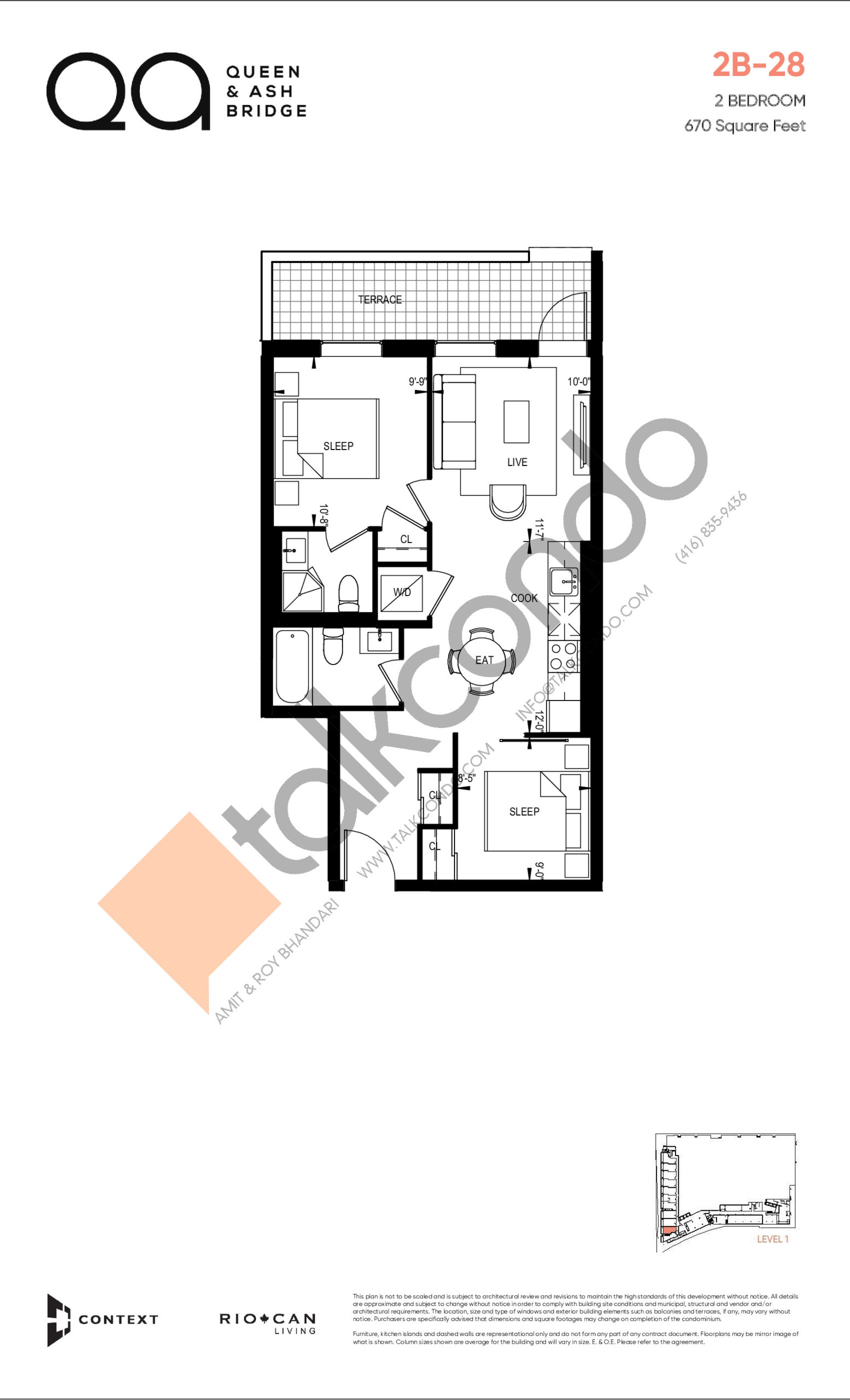 2B-28 (Queen Collection) Floor Plan at QA Condos - 670 sq.ft