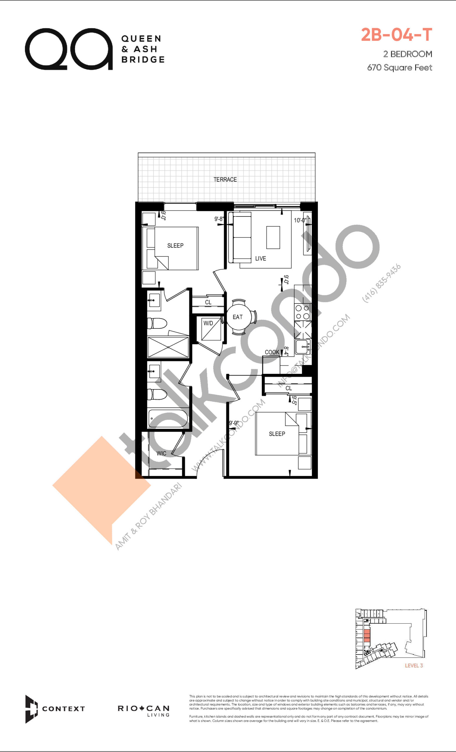2B-04-T (Queen Collection) Floor Plan at QA Condos - 670 sq.ft