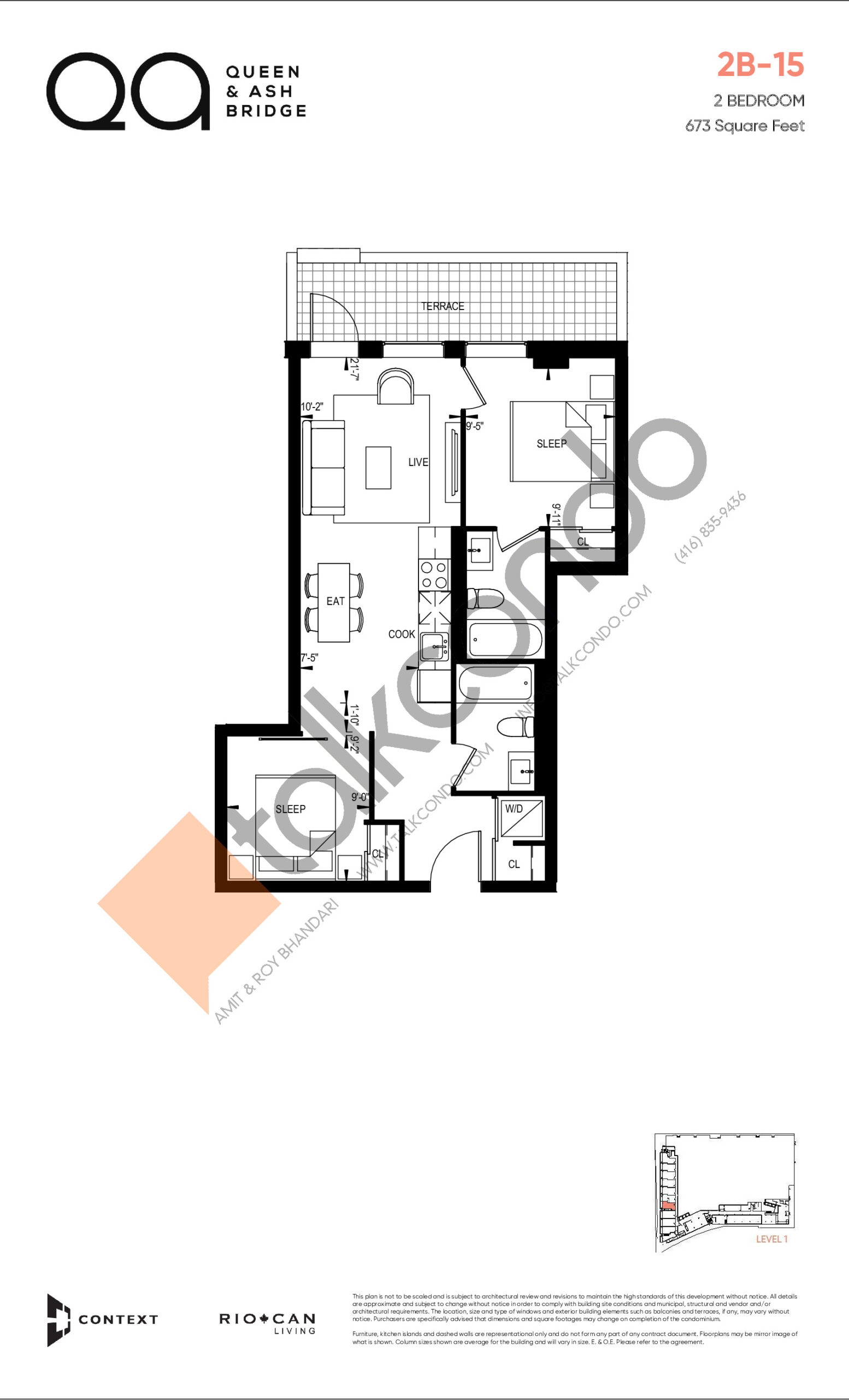 2B-15 (Queen Collection) Floor Plan at QA Condos - 673 sq.ft
