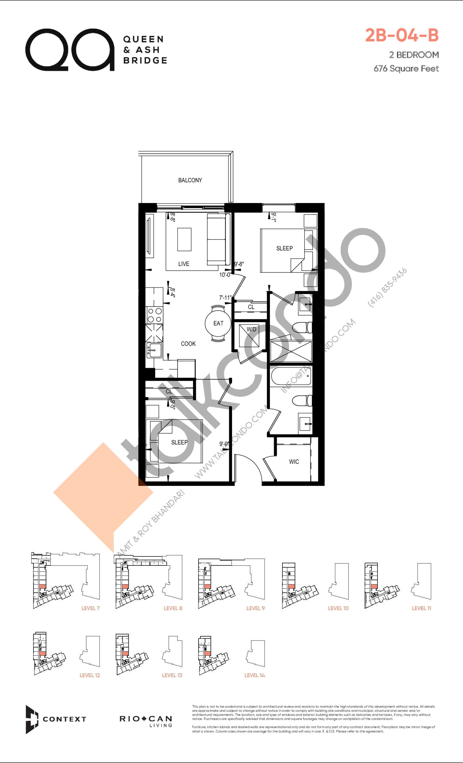 2B-04-B (Queen Collection) Floor Plan at QA Condos - 676 sq.ft