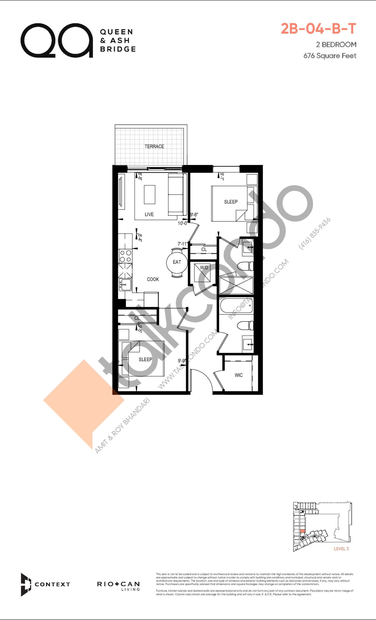 2B-04-B-T (Queen Collection) Floor Plan at QA Condos - 676 sq.ft