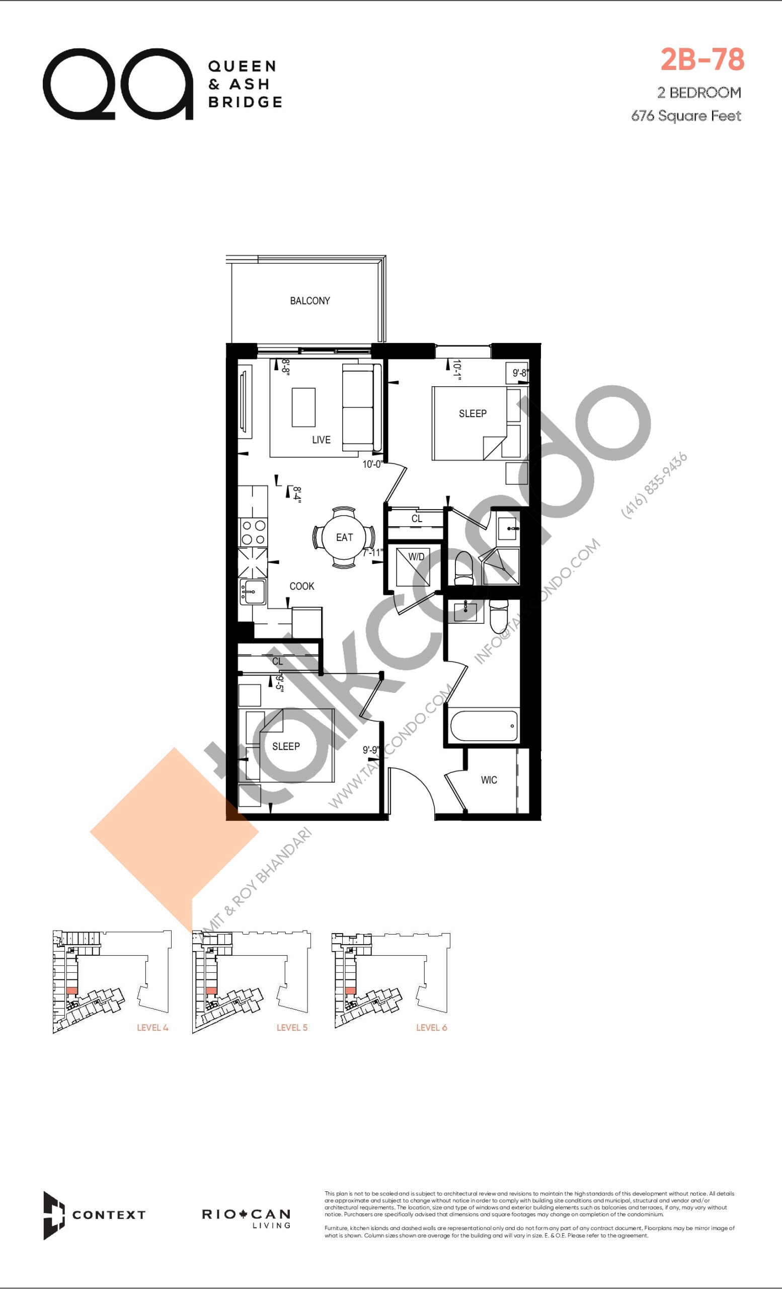 2B-78 (Queen Collection) Floor Plan at QA Condos - 676 sq.ft