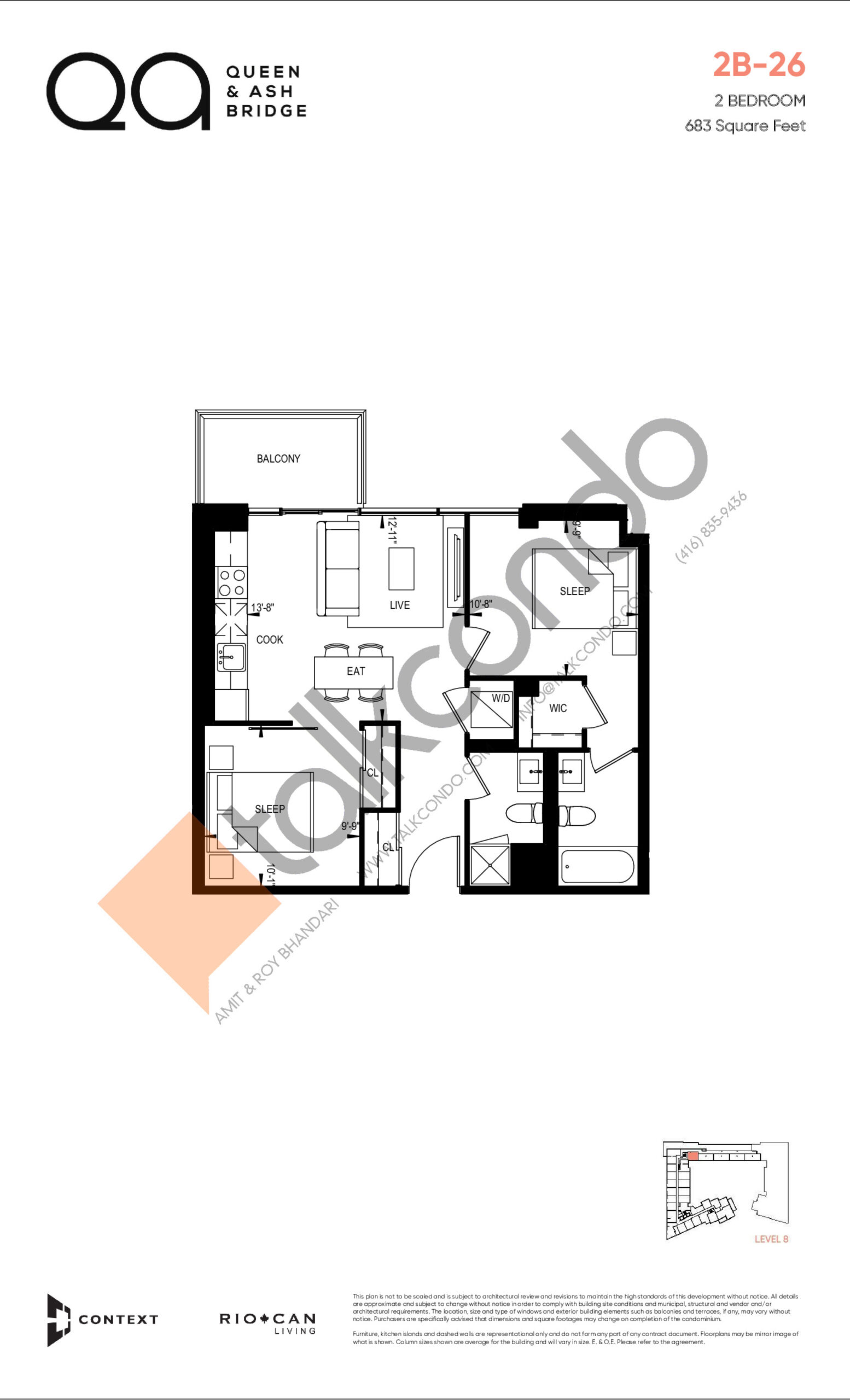 2B-26 (Queen Collection) Floor Plan at QA Condos - 683 sq.ft