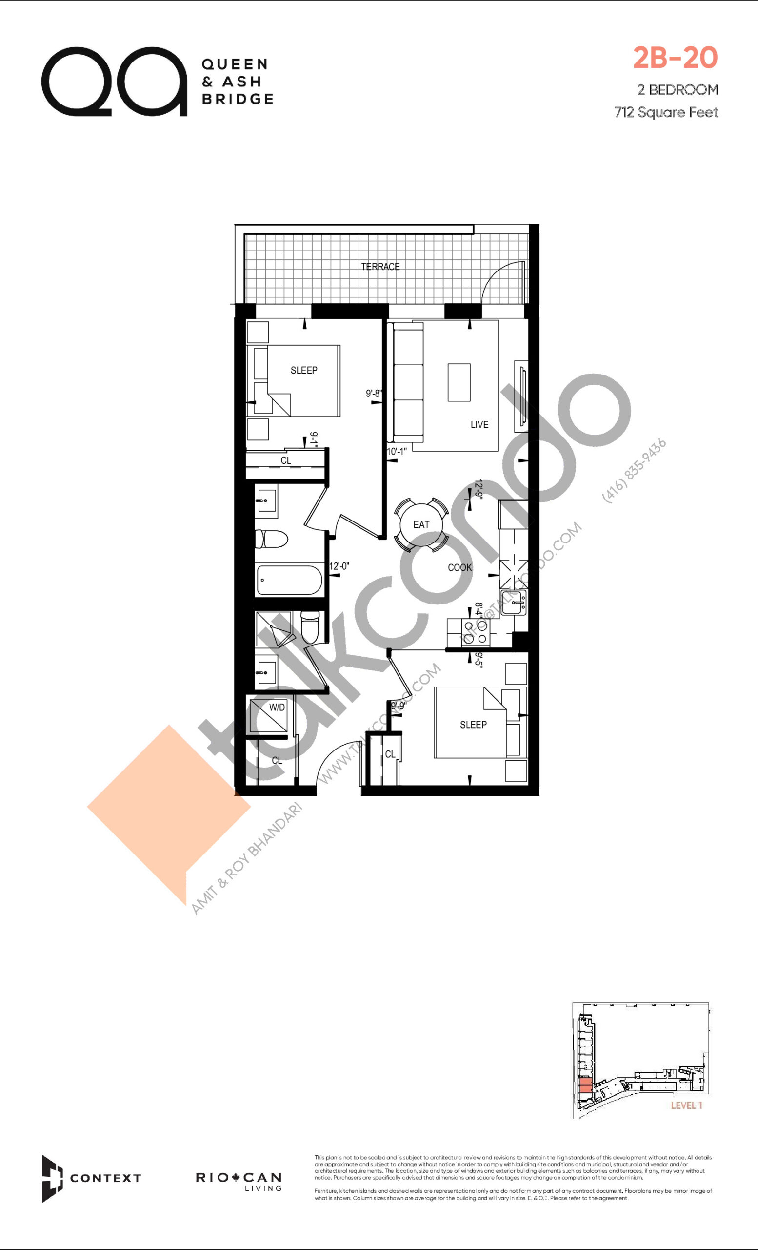 2B-20 (Queen Collection) Floor Plan at QA Condos - 712 sq.ft