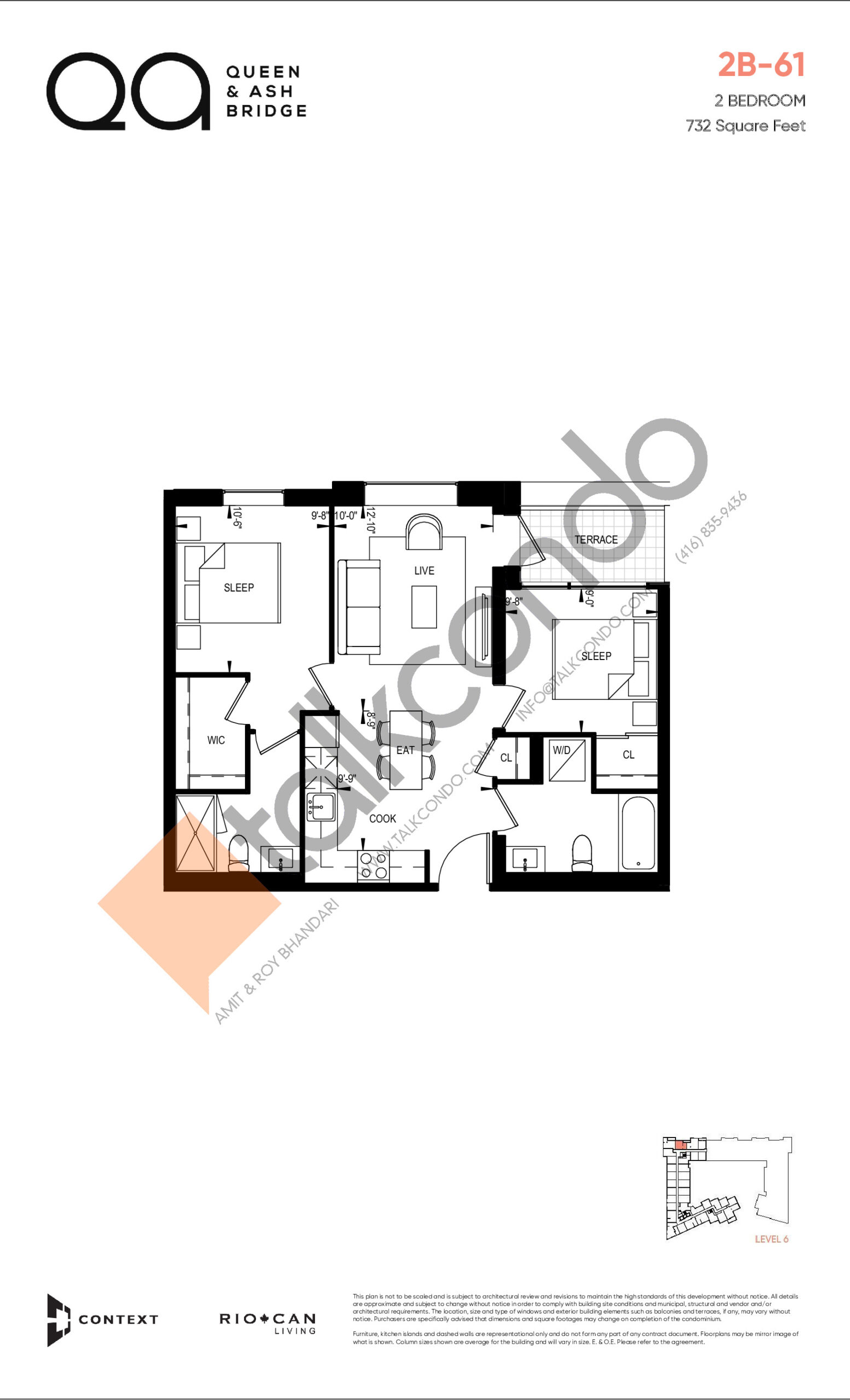 2B-61 (Queen Collection) Floor Plan at QA Condos - 732 sq.ft