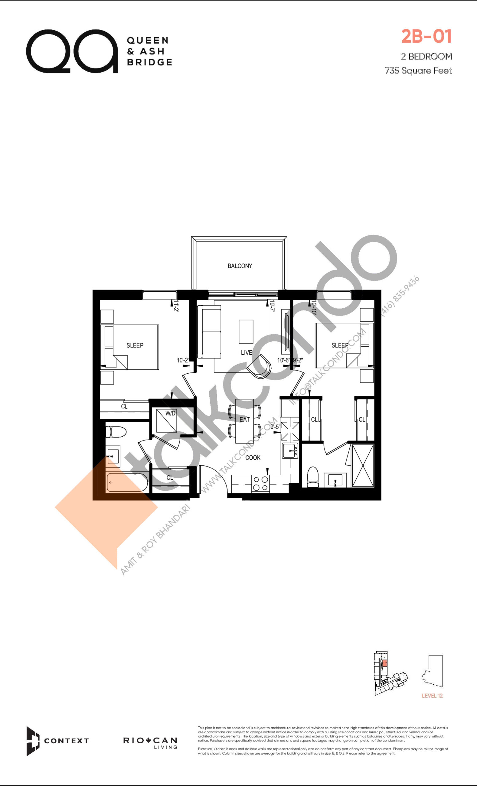 2B-01 (Queen Collection) Floor Plan at QA Condos - 735 sq.ft