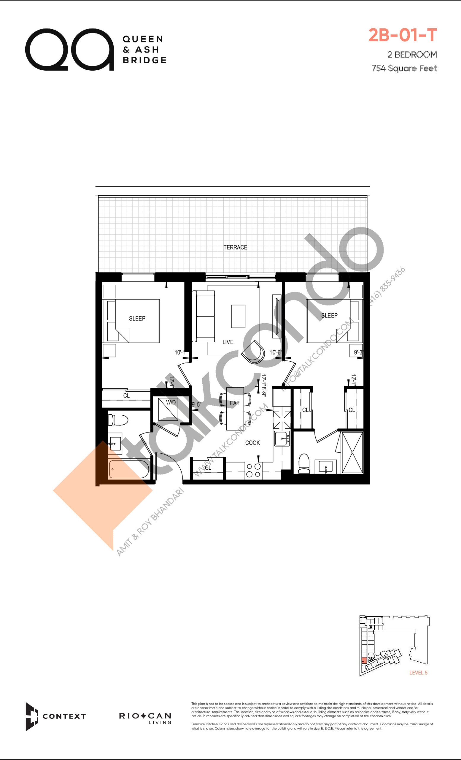 2B-01-T (Queen Collection) Floor Plan at QA Condos - 754 sq.ft