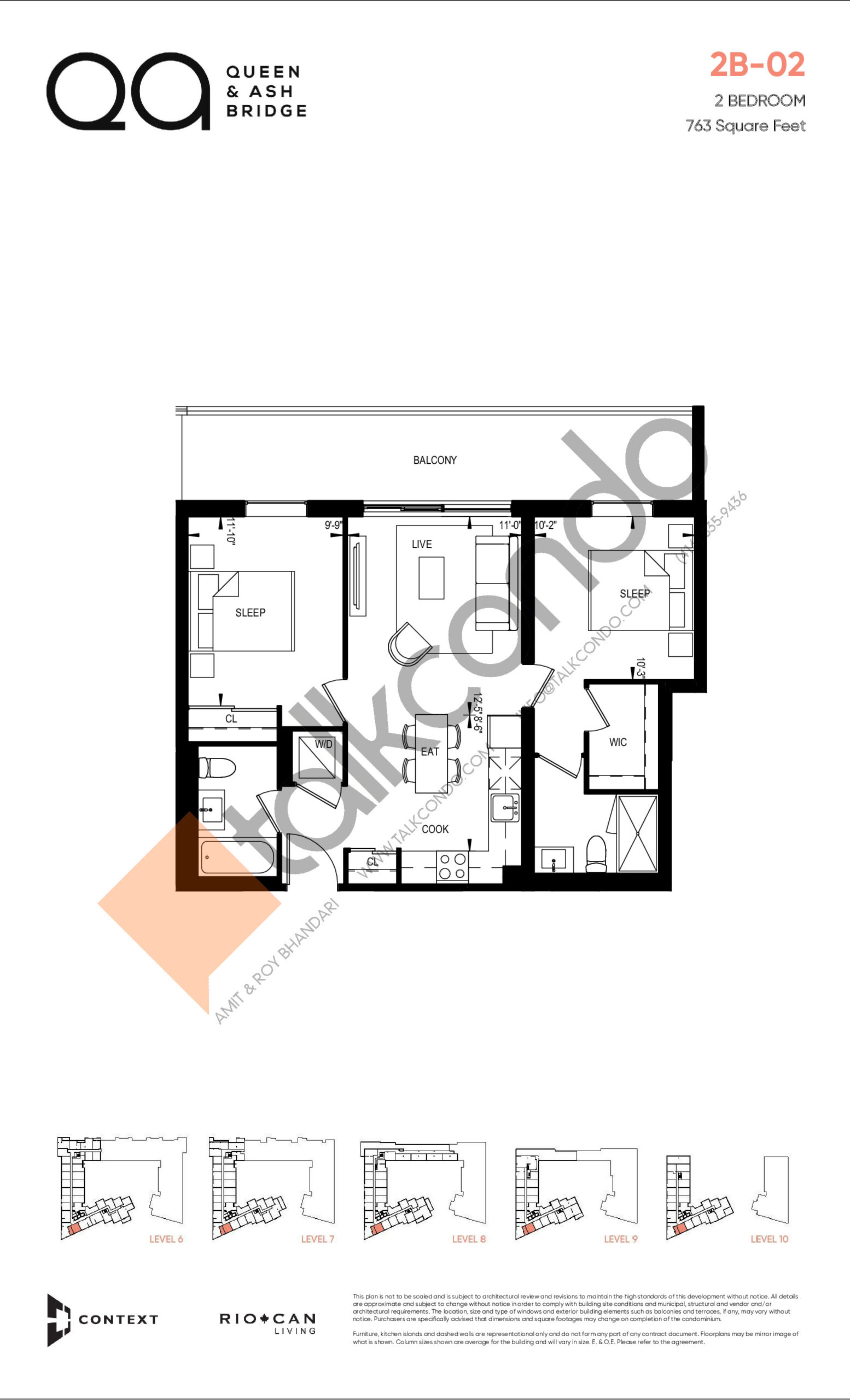 2B-02 (Queen Collection) Floor Plan at QA Condos - 763 sq.ft