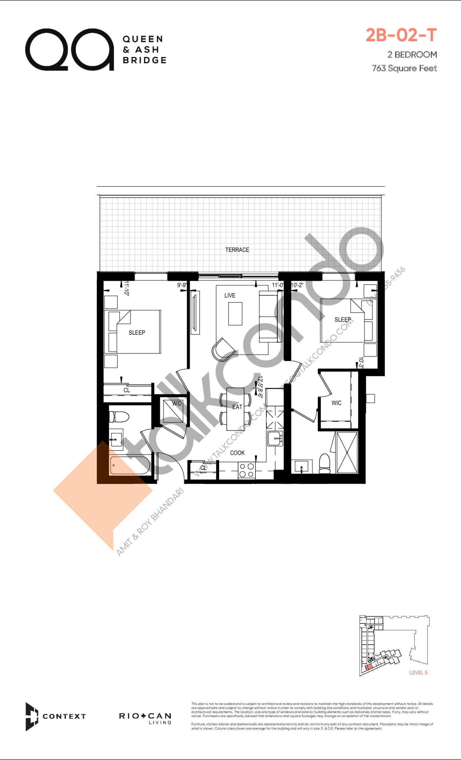 2B-02-T (Queen Collection) Floor Plan at QA Condos - 763 sq.ft