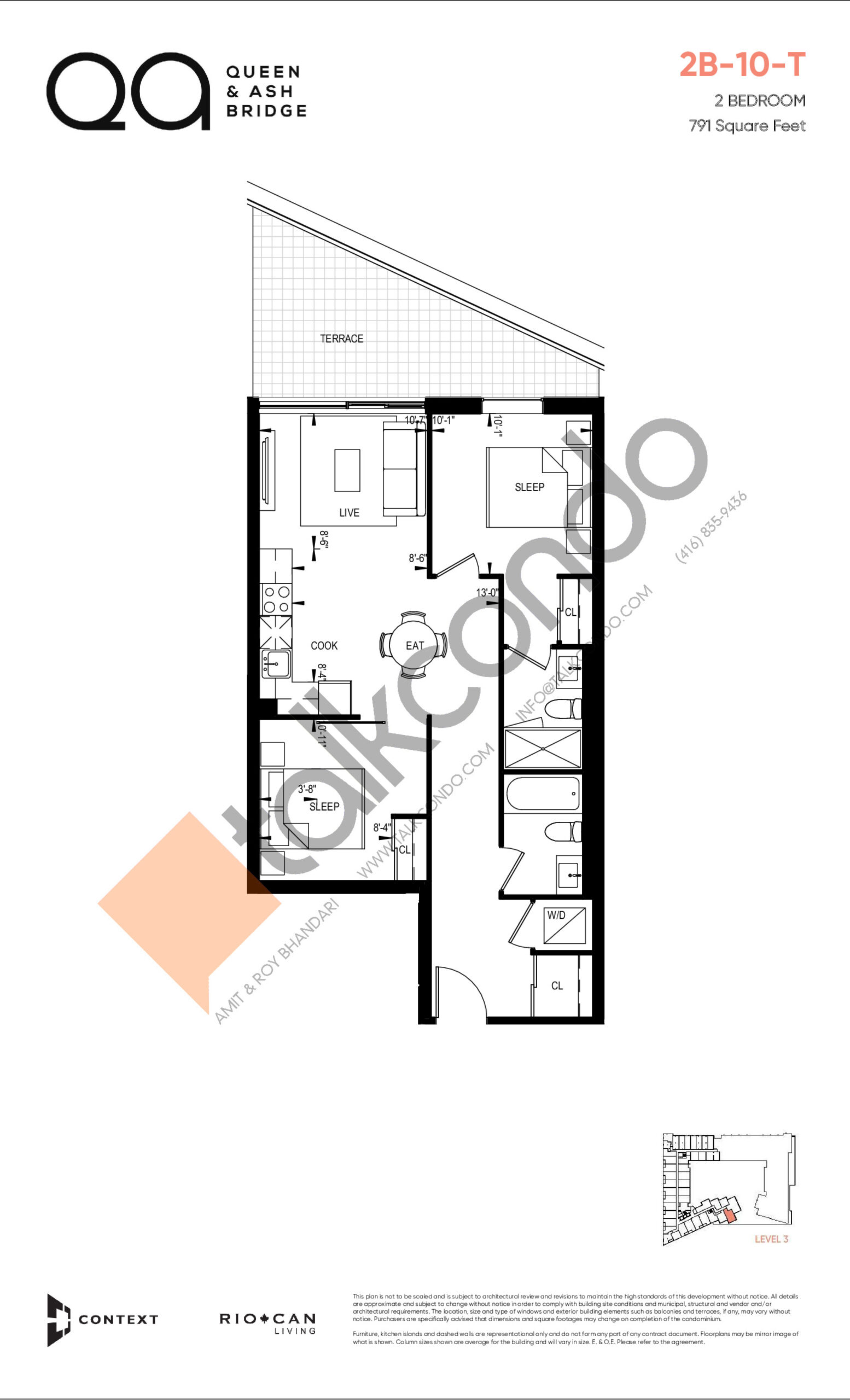 2B-10-T (Queen Collection) Floor Plan at QA Condos - 791 sq.ft