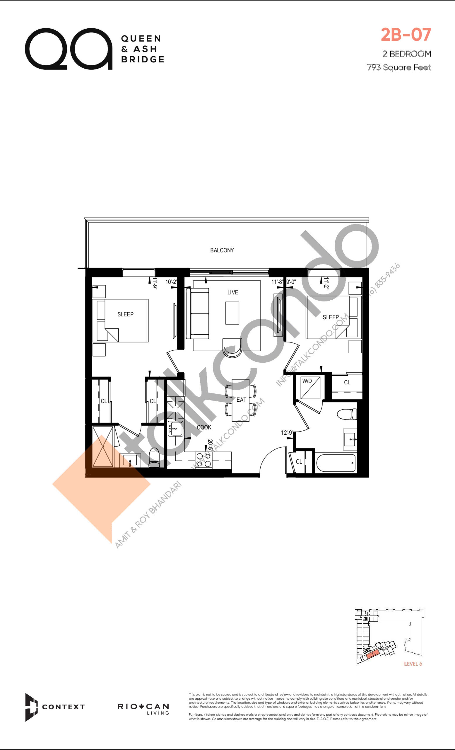 2B-07 (Queen Collection) Floor Plan at QA Condos - 793 sq.ft