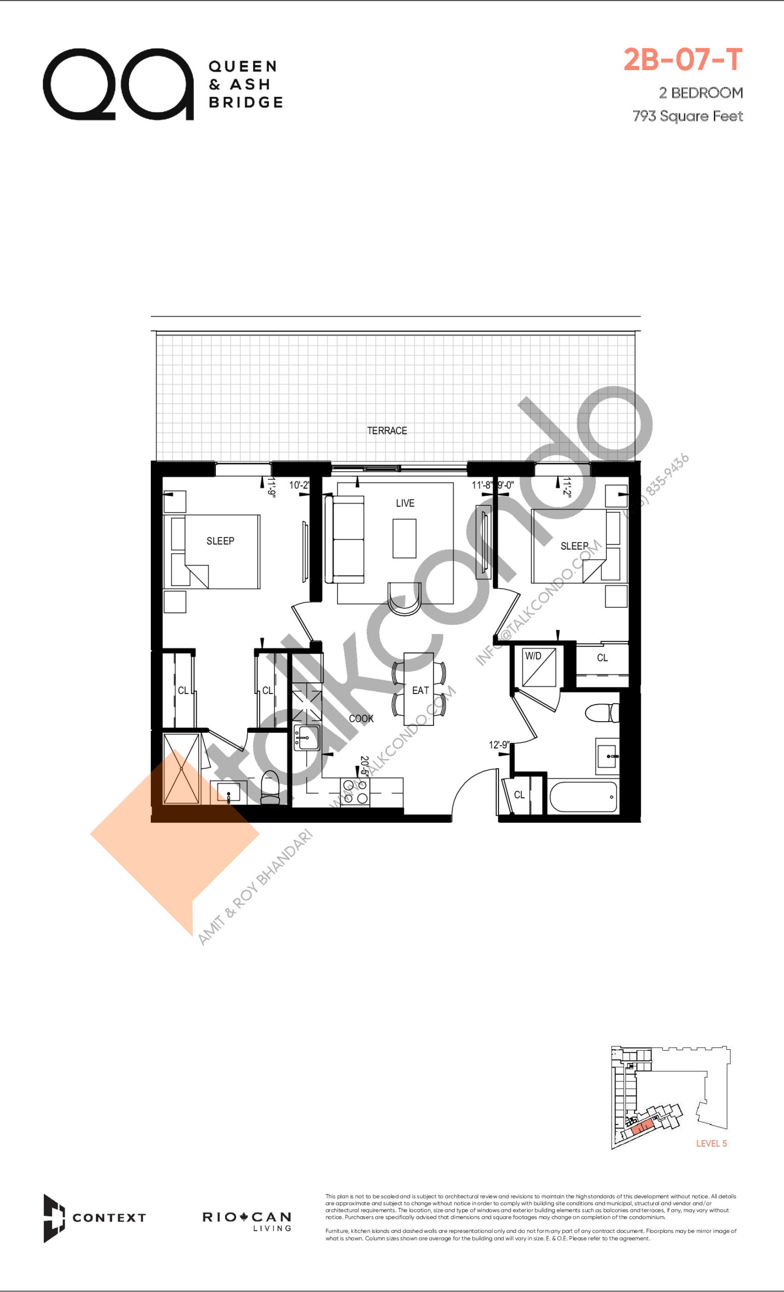 2B-07-T (Queen Collection) Floor Plan at QA Condos - 793 sq.ft
