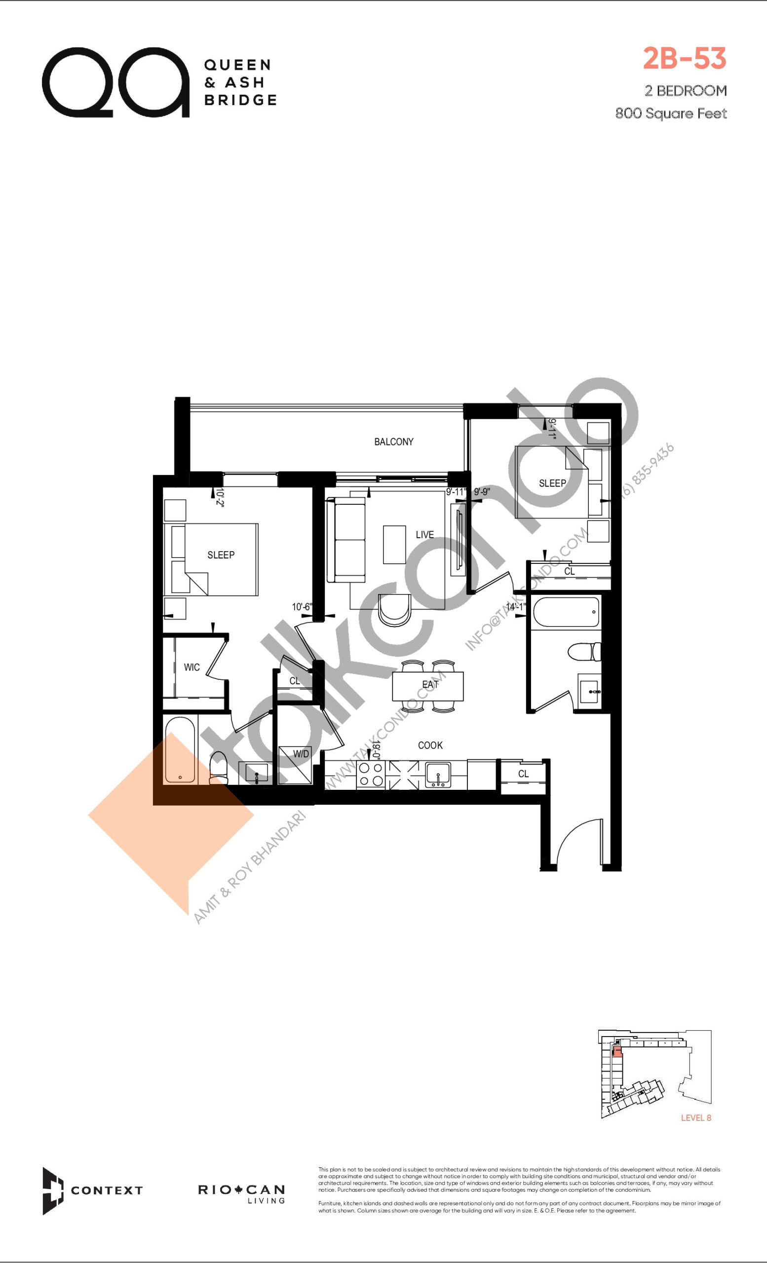 2B-53 (Queen Collection) Floor Plan at QA Condos - 800 sq.ft