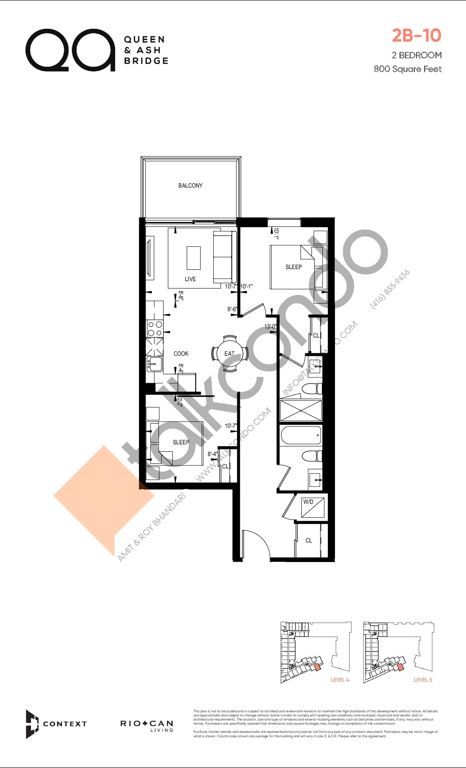 2B-10 (Queen Collection) Floor Plan at QA Condos - 800 sq.ft