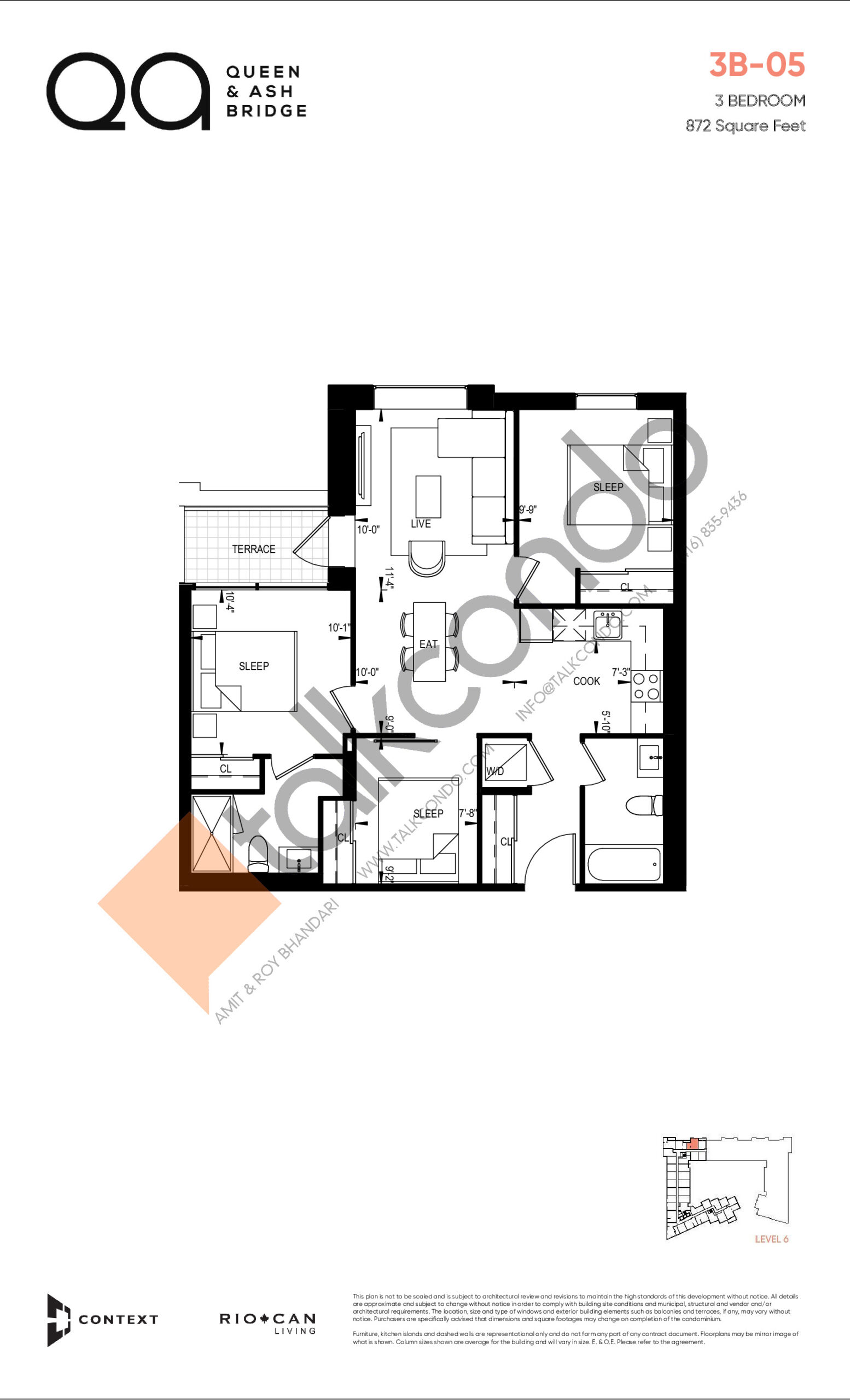 3B-05 (Queen Collection) Floor Plan at QA Condos - 872 sq.ft
