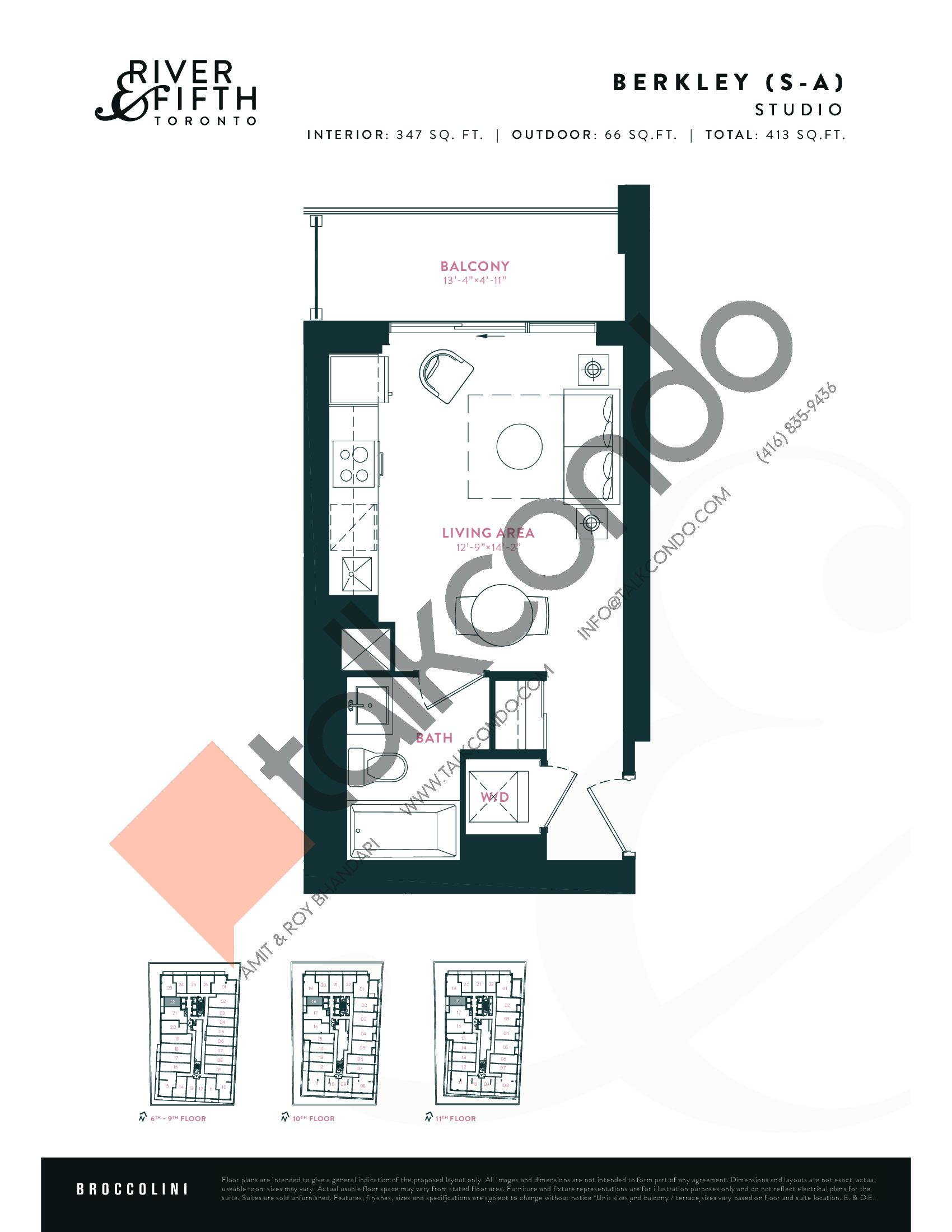 Berkley (S-A) Floor Plan at River & Fifth Condos - 347 sq.ft