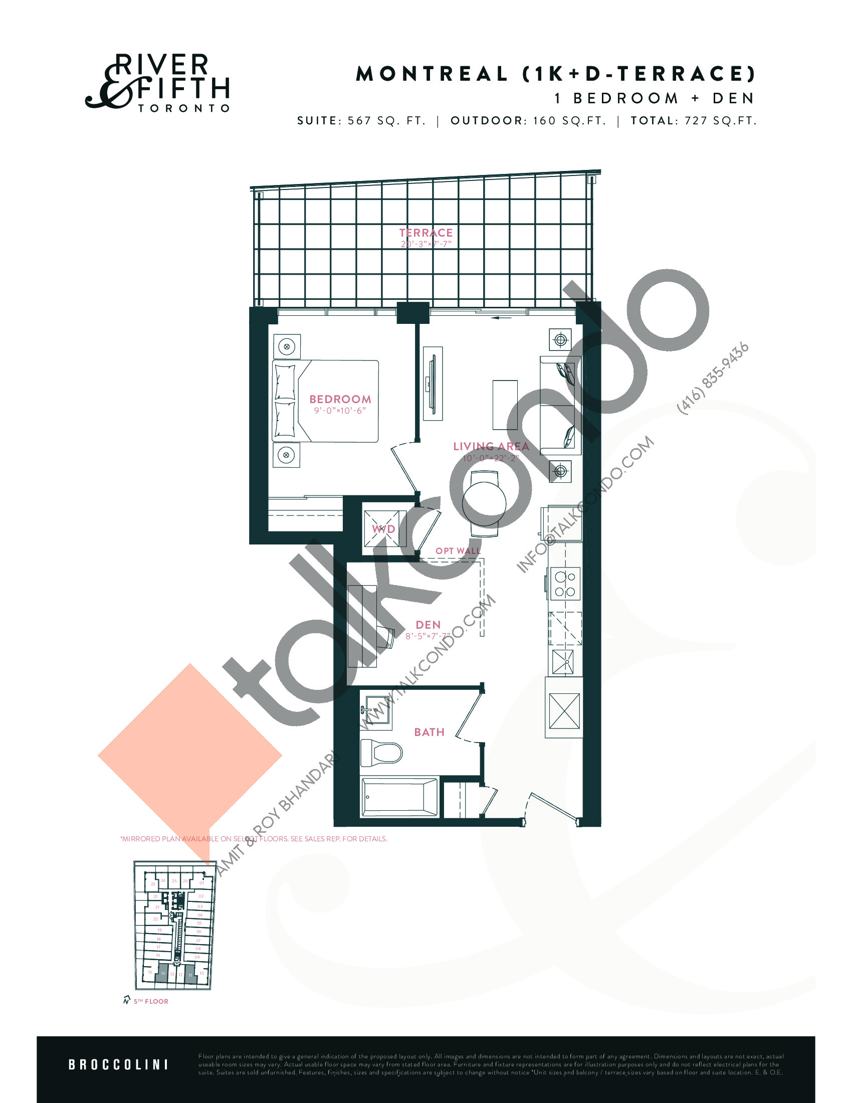 Montreal (1K+D-Terrace) Floor Plan at River & Fifth Condos - 567 sq.ft