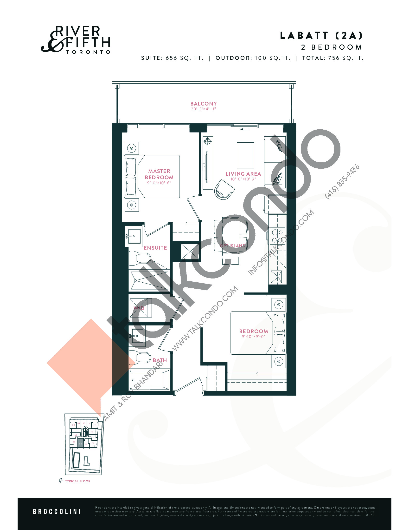 Labatt (2A) Floor Plan at River & Fifth Condos - 656 sq.ft
