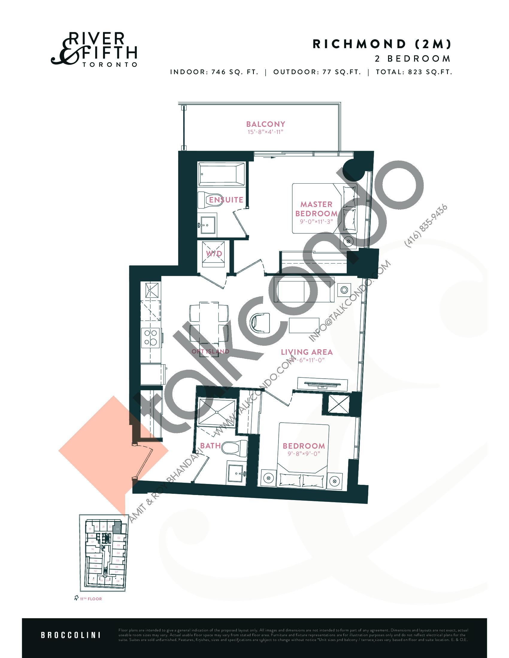 Richmond (2M) Floor Plan at River & Fifth Condos - 746 sq.ft