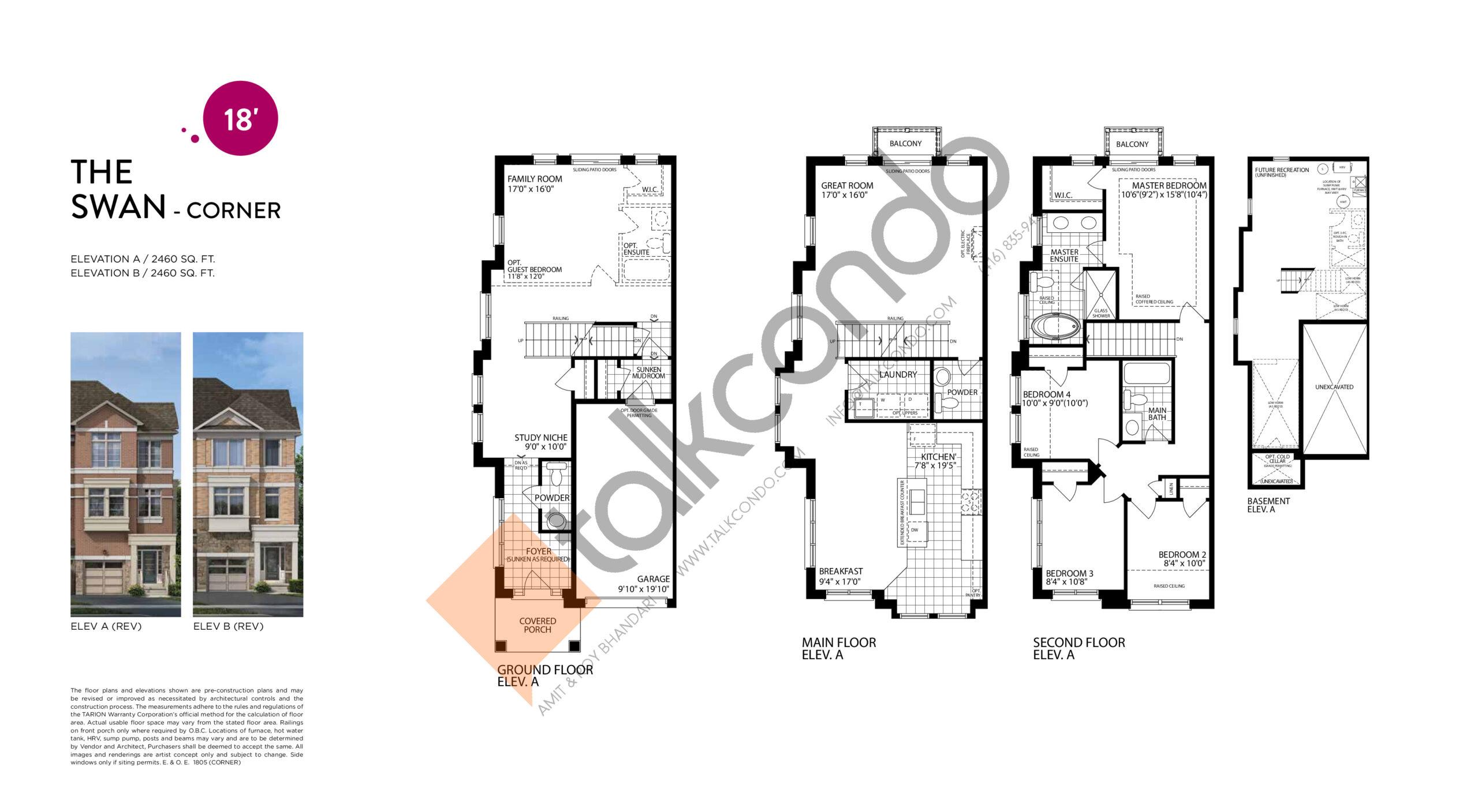 The Swan (Corner) Floor Plan at Smart Towns - 2460 sq.ft