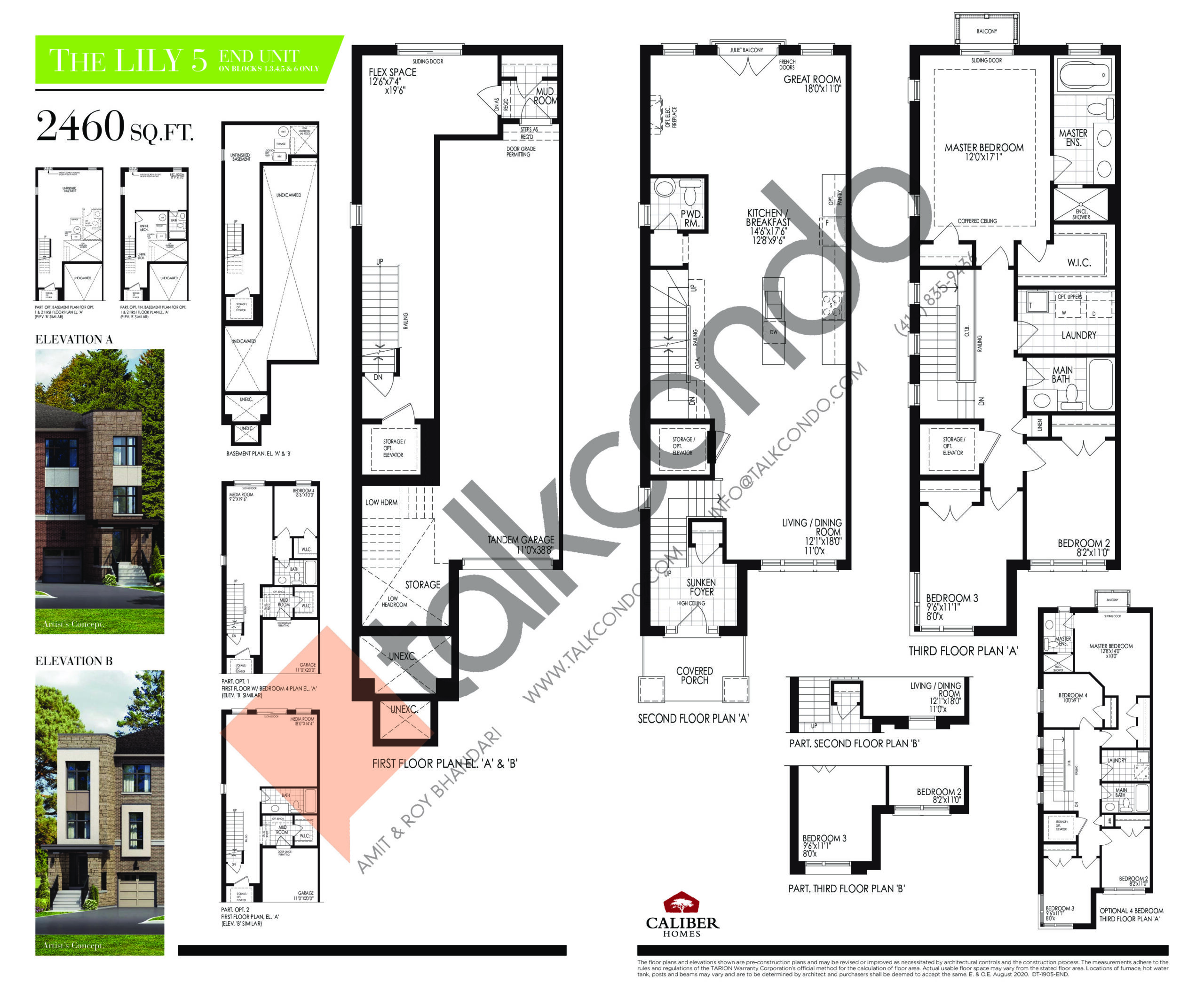 The Lily 5 Floor Plan at Uplands of Swan Lake Towns - 2460 sq.ft