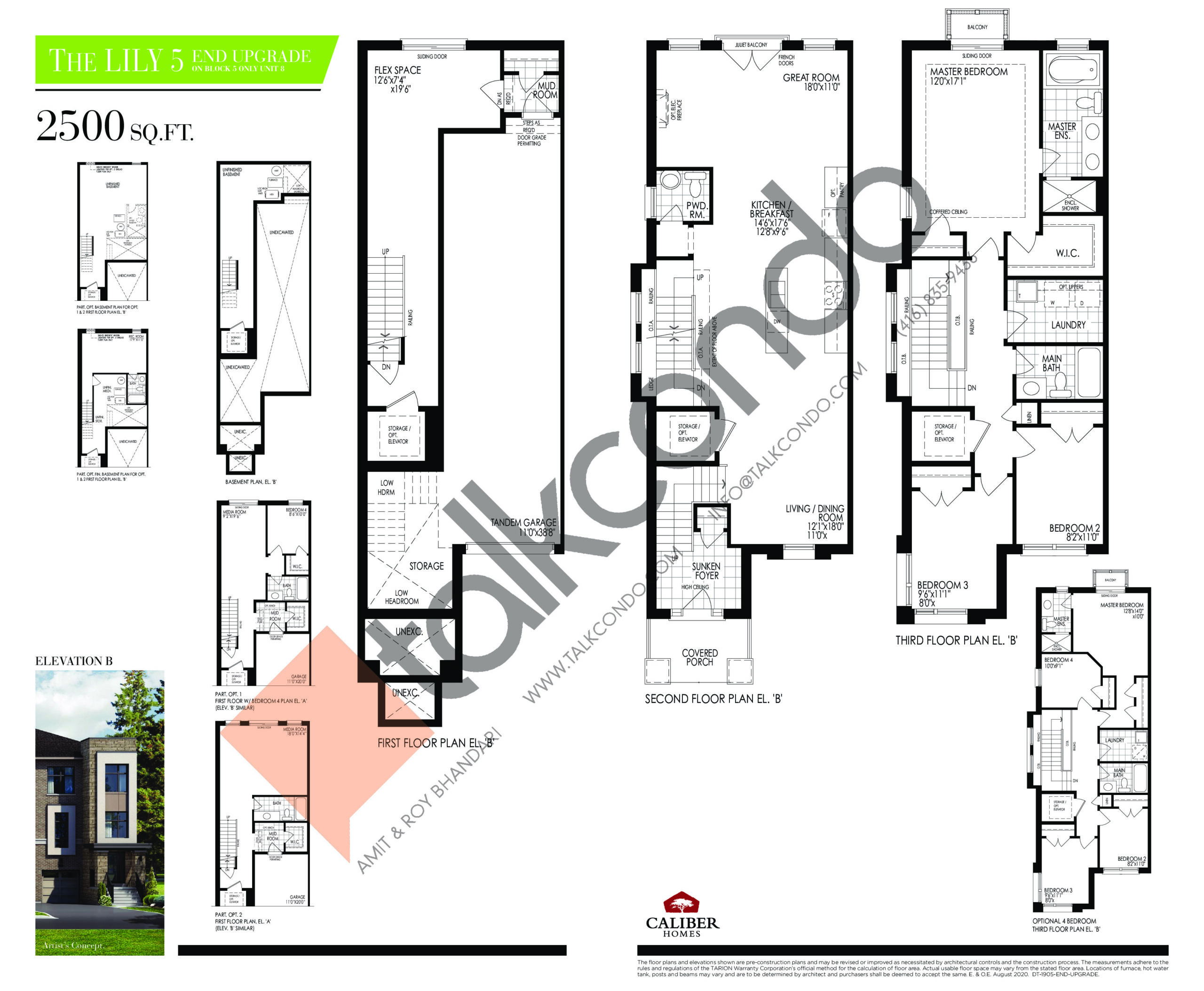 The Lily 5 - End Upgrade Floor Plan at Uplands of Swan Lake Towns - 2500 sq.ft
