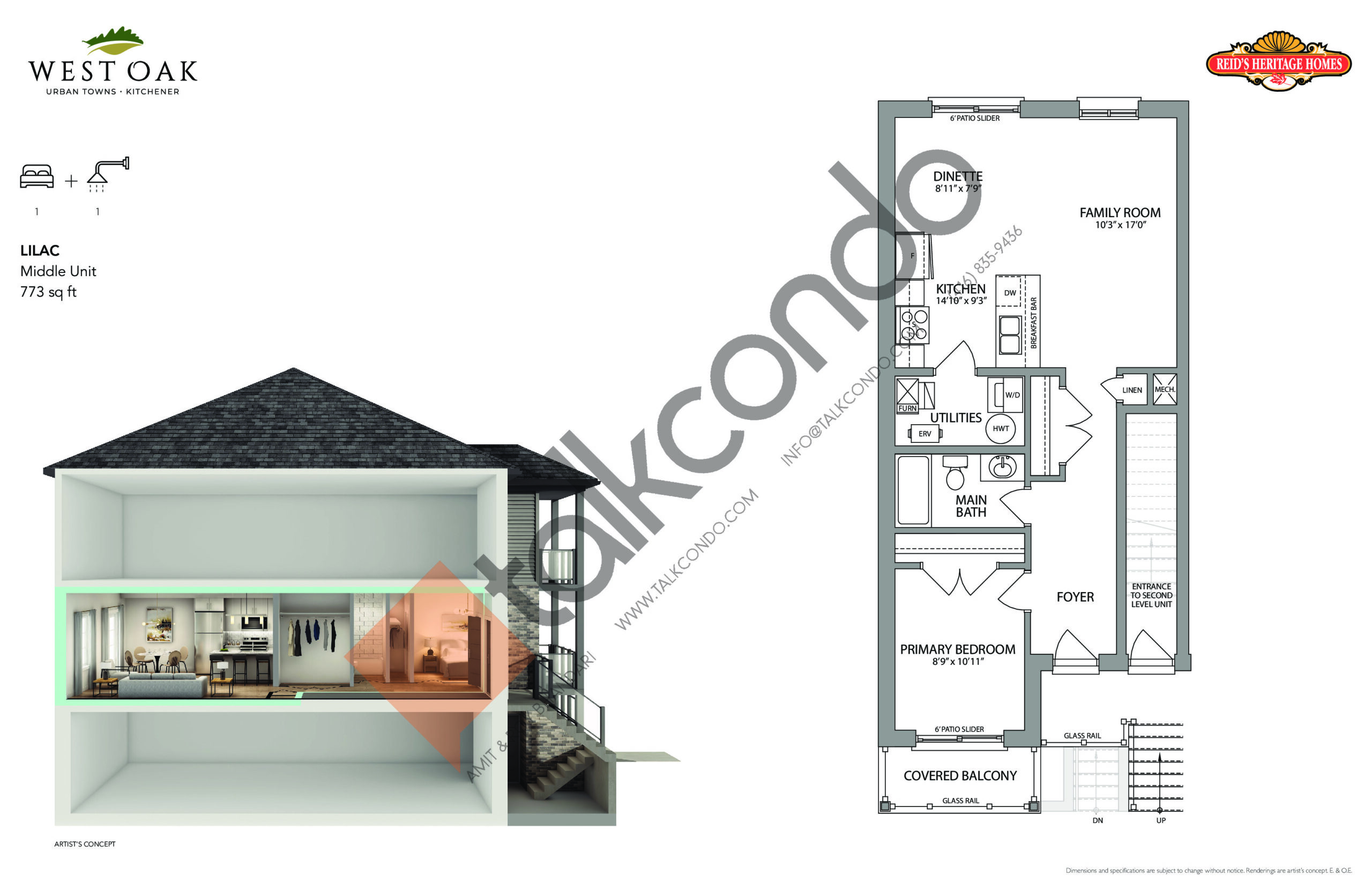 Lilac Floor Plan at West Oak Urban Towns - 773 sq.ft