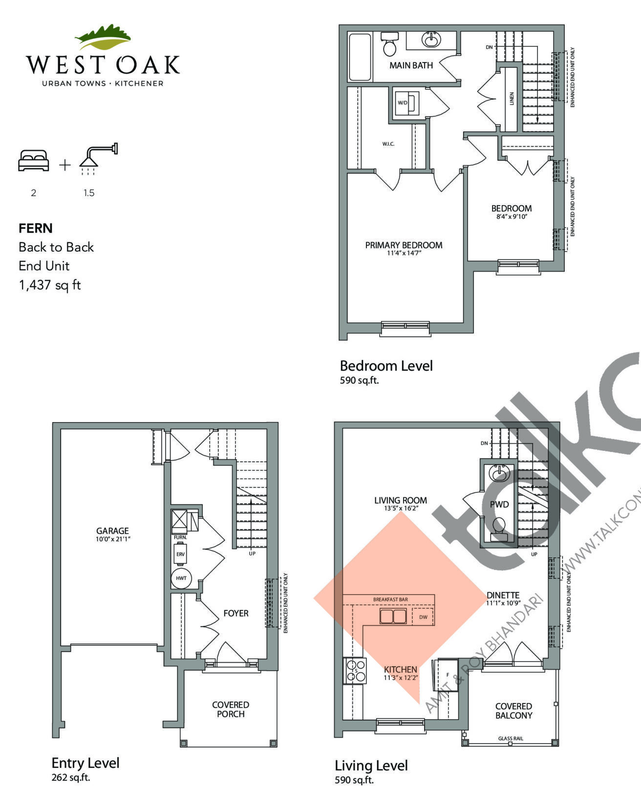 Fern Floor Plan at West Oak Urban Towns - 1437 sq.ft