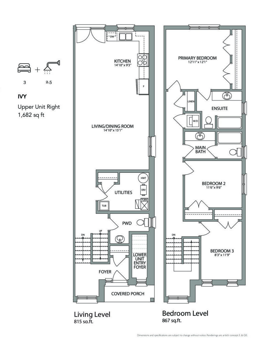 Ivy (Right) Floor Plan at West Oak Urban Towns - 1682 sq.ft