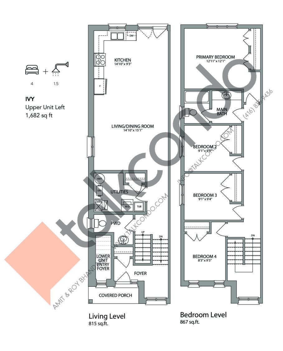 Ivy (Left) Floor Plan at West Oak Urban Towns - 1682 sq.ft