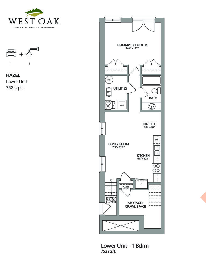 Hazel Floor Plan at West Oak Urban Towns - 752 sq.ft