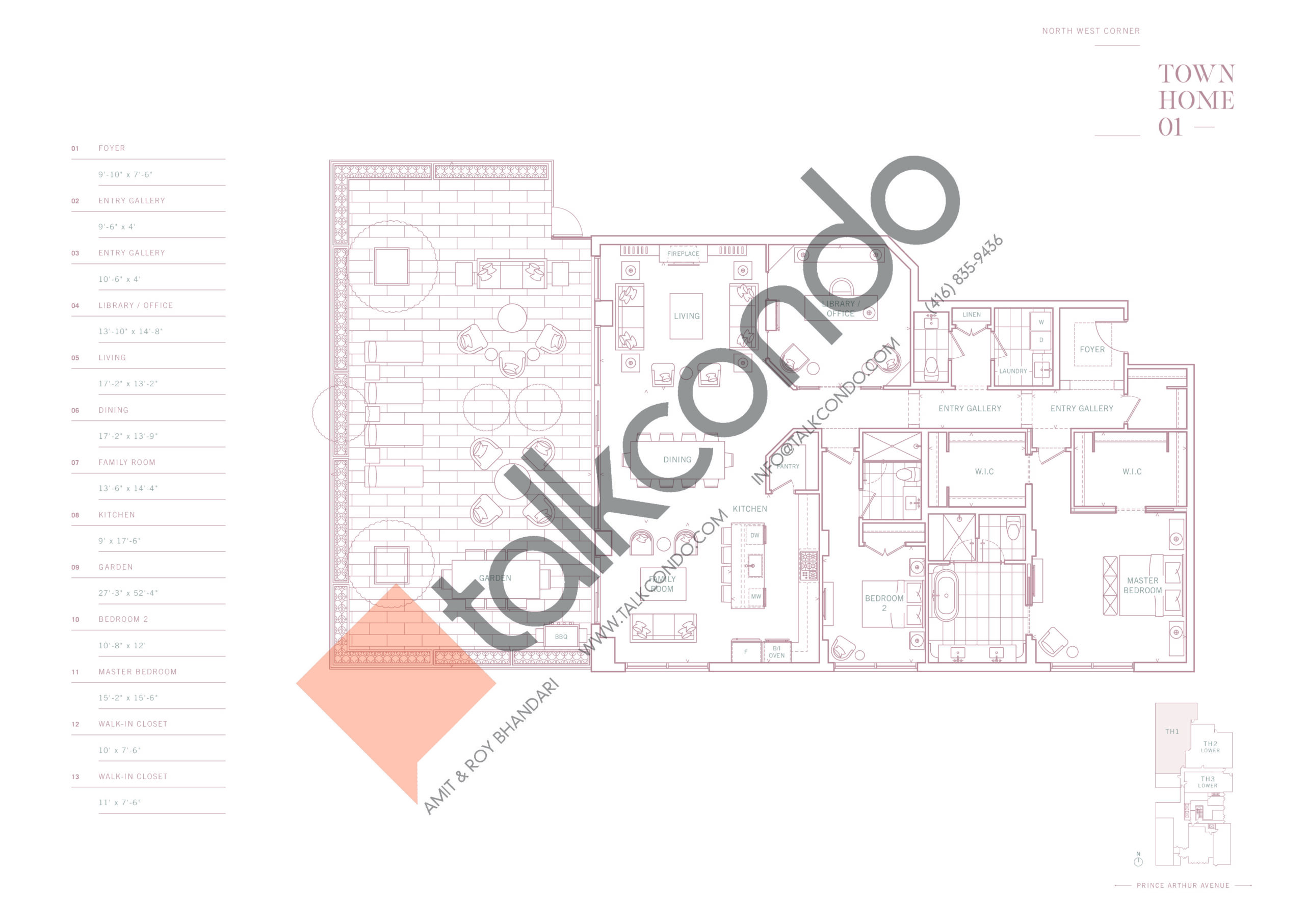 Townhome 01 Floor Plan at 10 Prince Arthur Condos - 2550 sq.ft
