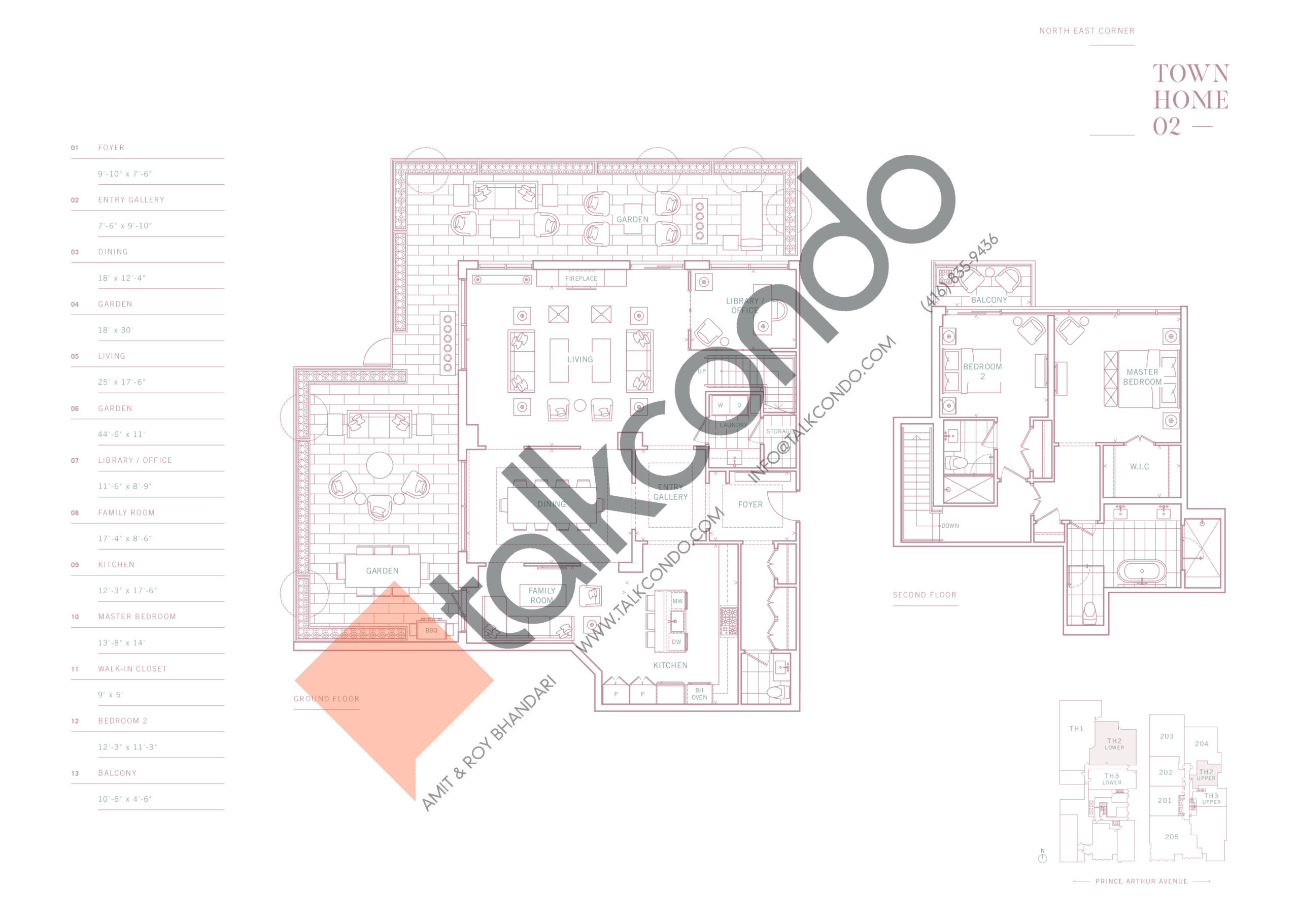 Townhome 02 Floor Plan at 10 Prince Arthur Condos - 2638 sq.ft