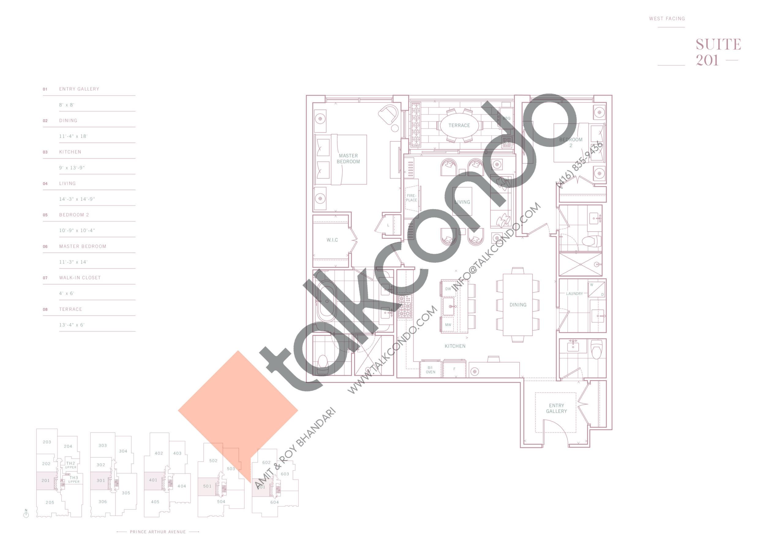 Suite 201 Floor Plan at 10 Prince Arthur Condos - 1416 sq.ft
