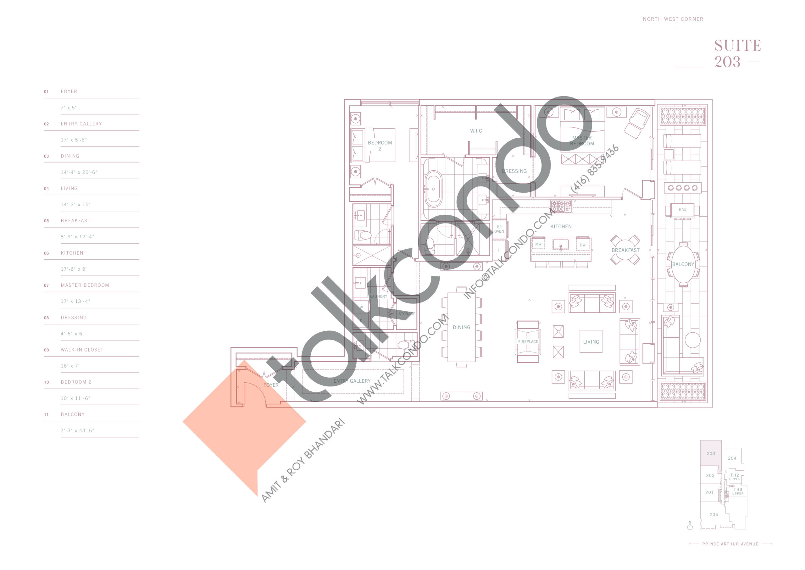Suite 203 Floor Plan at 10 Prince Arthur Condos - 2158 sq.ft
